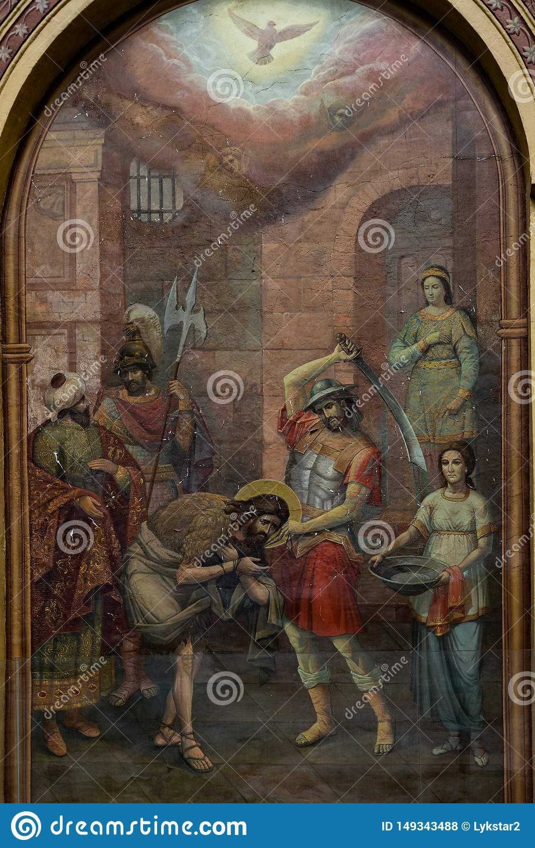 莫斯科俄罗斯可以25,在老俄国教会的墙壁上的2019年壁画描述圣若翰洗者斩首