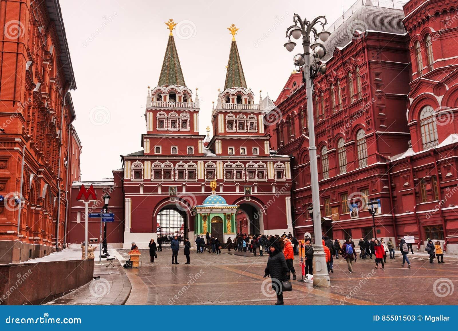 莫斯科,俄罗斯联邦- 2017年1月21日:往著名克里姆林宫区域,许多访客在红场喜欢去
