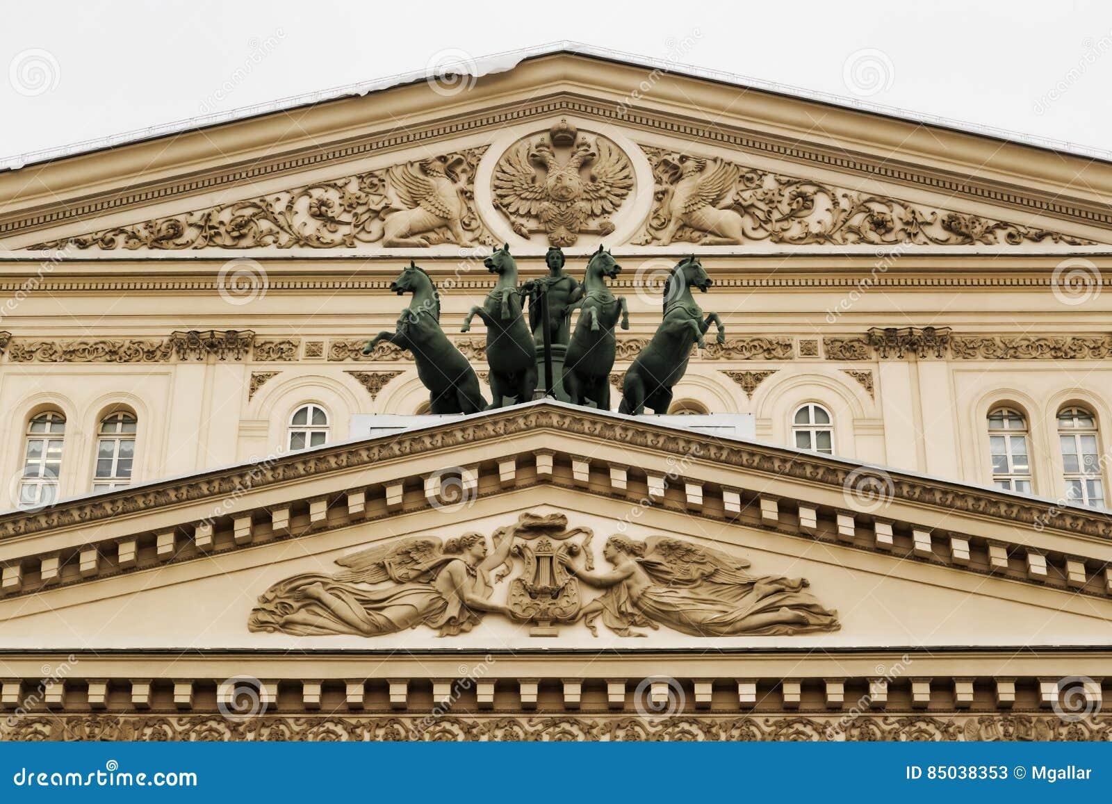 莫斯科,俄罗斯联邦- 2017年1月28日 Bolshoi剧院山墙饰细节