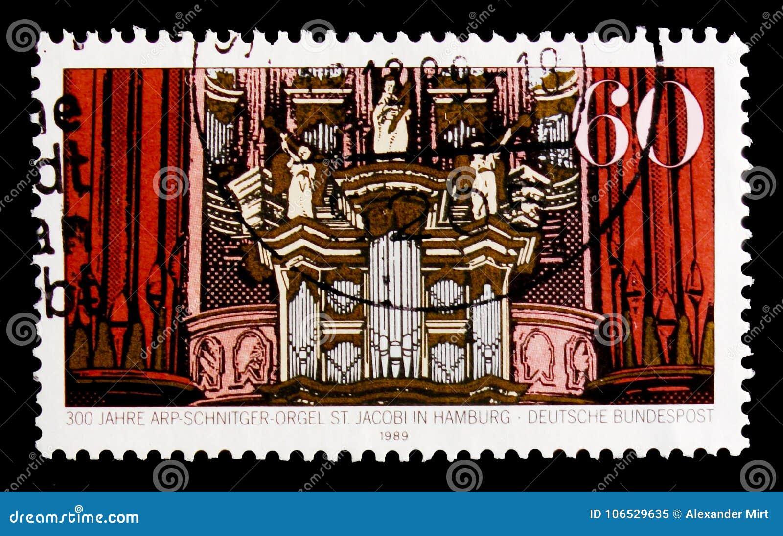 莫斯科,俄罗斯- 2017年10月3日:在德国打印的邮票联邦机关