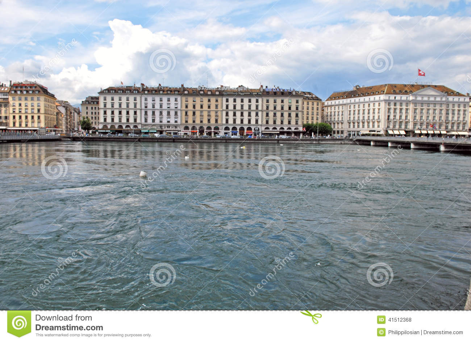 莱芒湖,瑞士都市风景视图