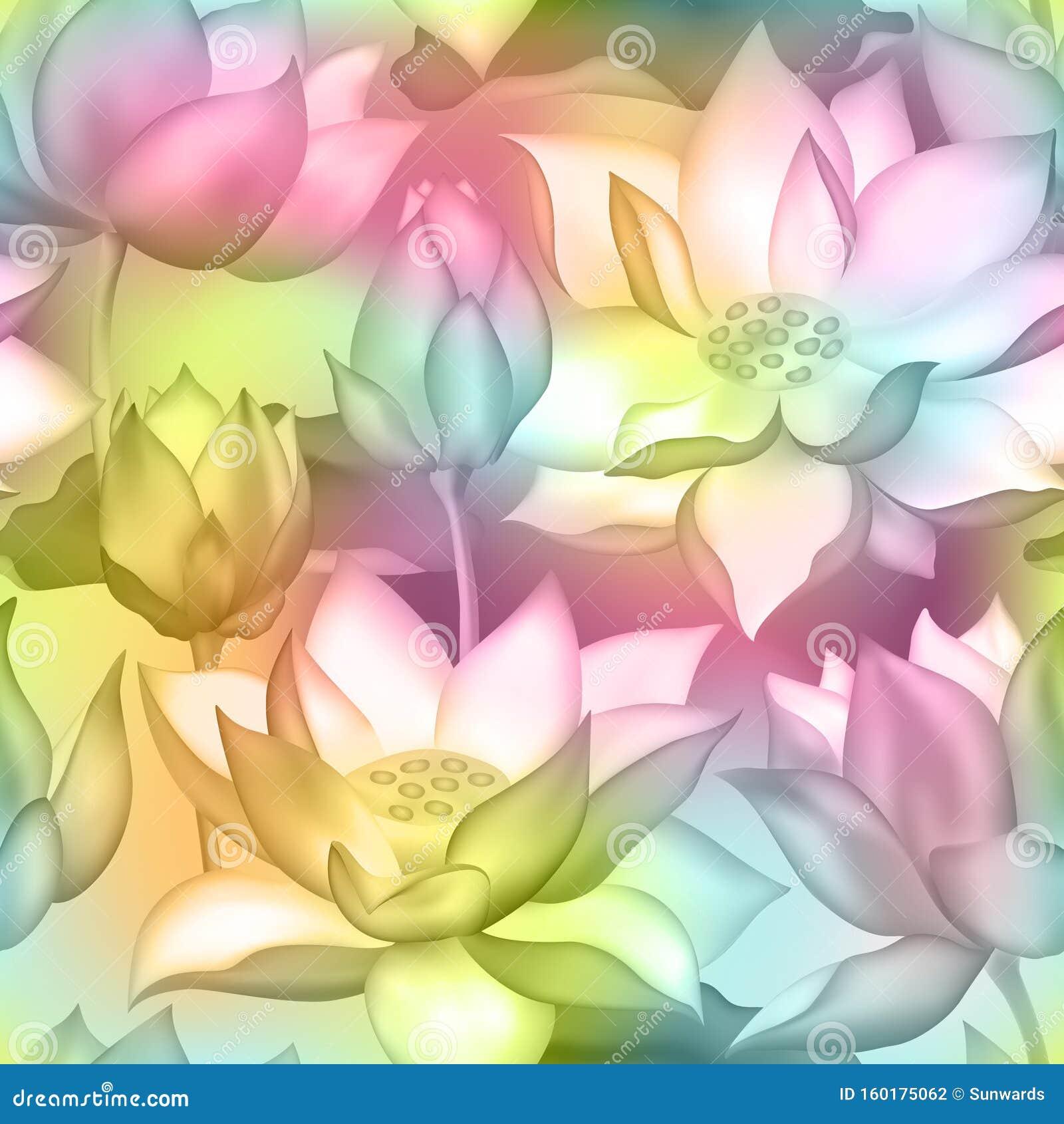 莲花与花无缝载体图案水莉莲水生植物包装设计向量例证 插画包括有图象