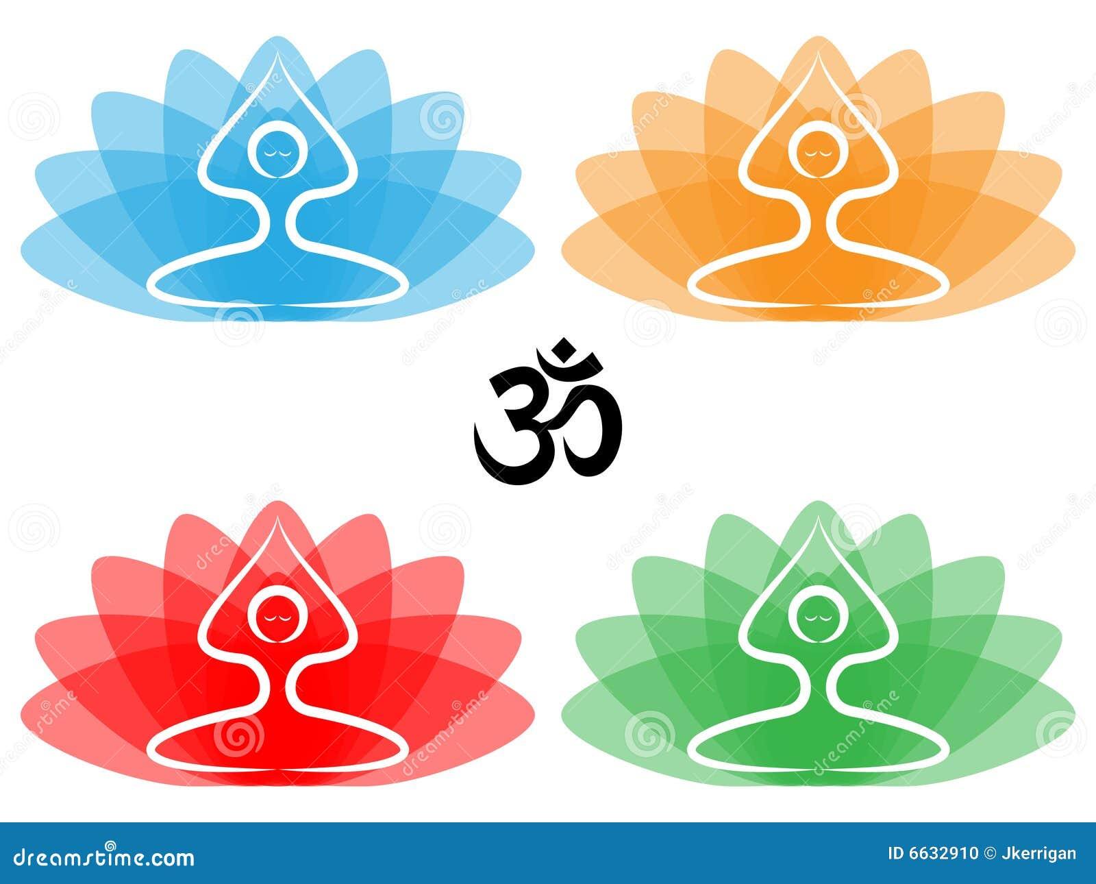 花例证莲花om摆在符号瑜伽.
