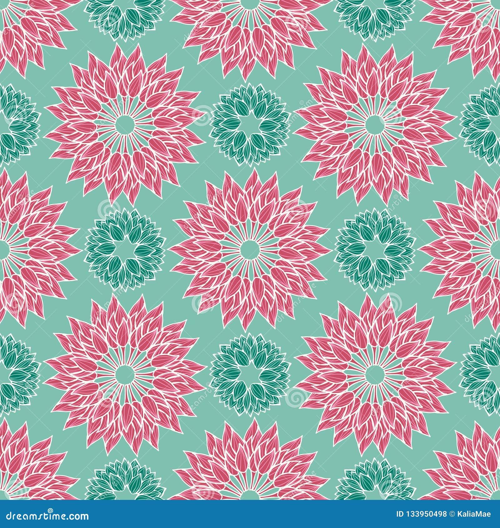 莲花花卉坛场在现代五颜六色的典雅式样设计 无缝的传染媒介重复样式