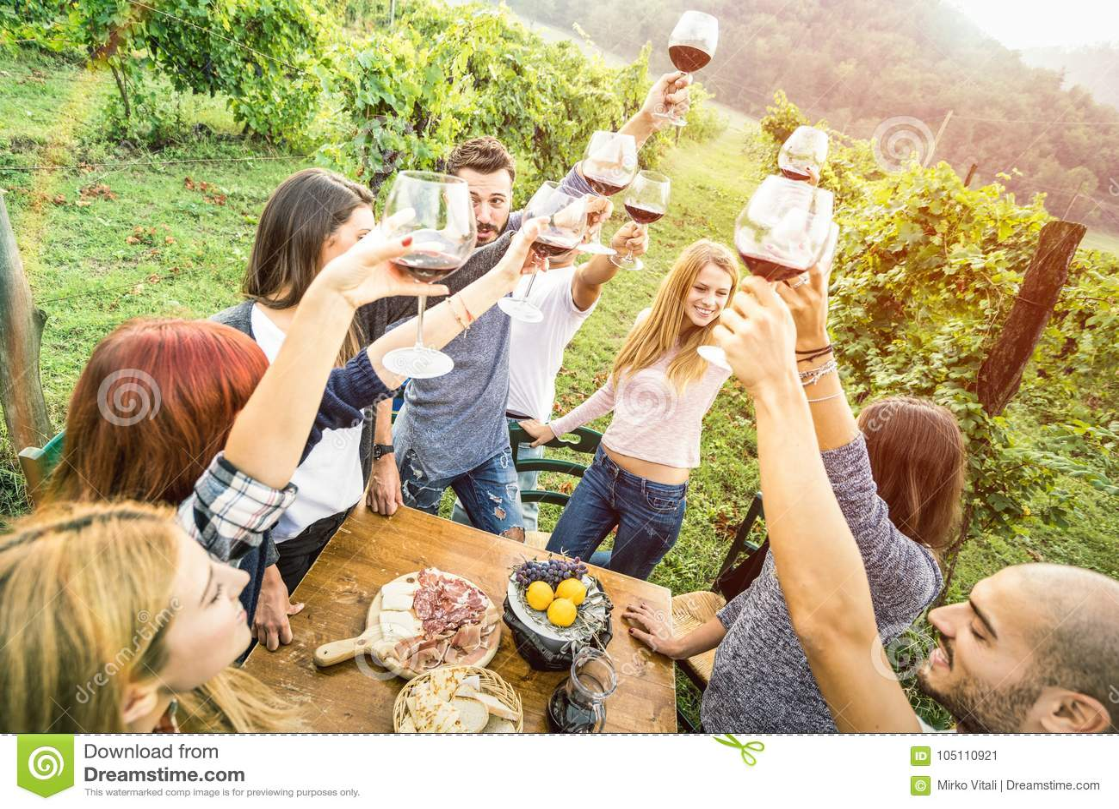 获得年轻的朋友户外喝红葡萄酒的乐趣在葡萄园酿酒厂