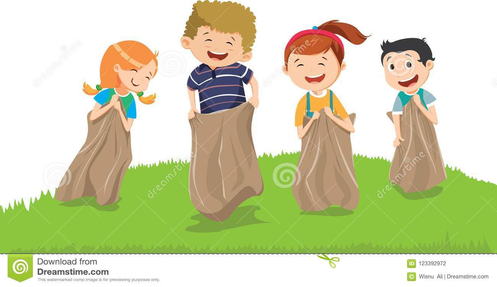 获得的孩子的例证与大袋的乐趣在草甸