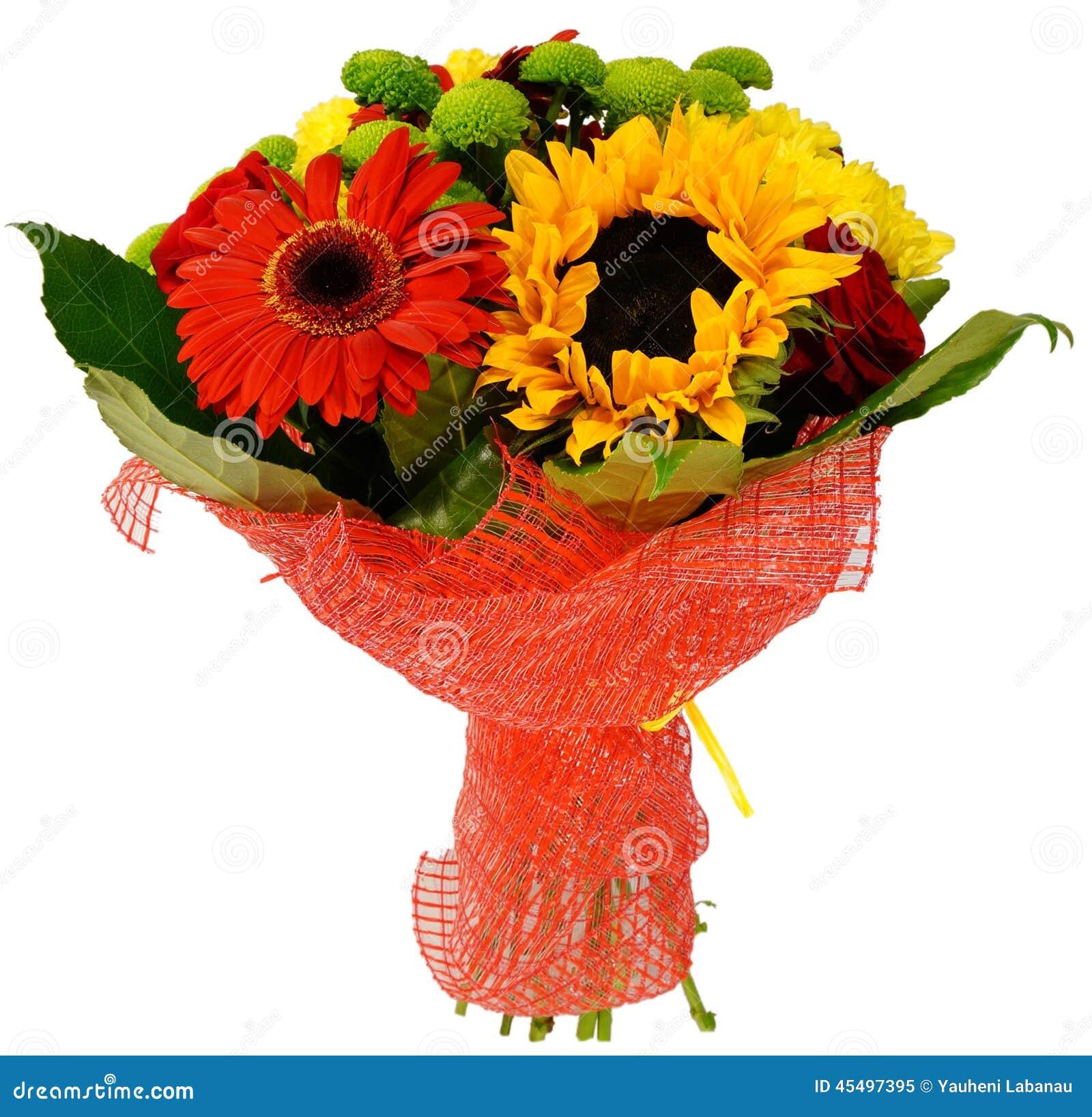 菊花和向日葵花束