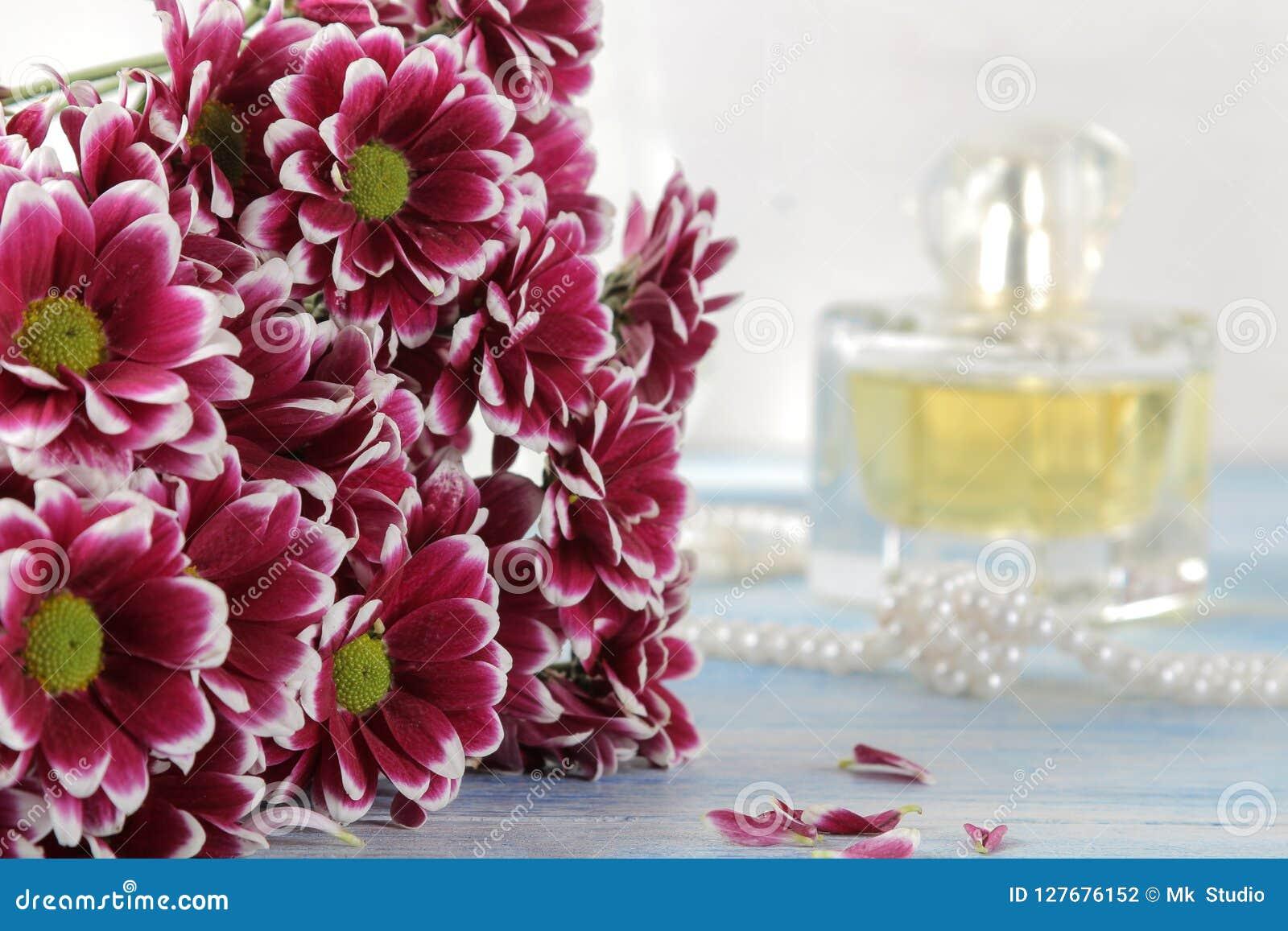 菊花和香水在背景中在一张蓝色木桌上