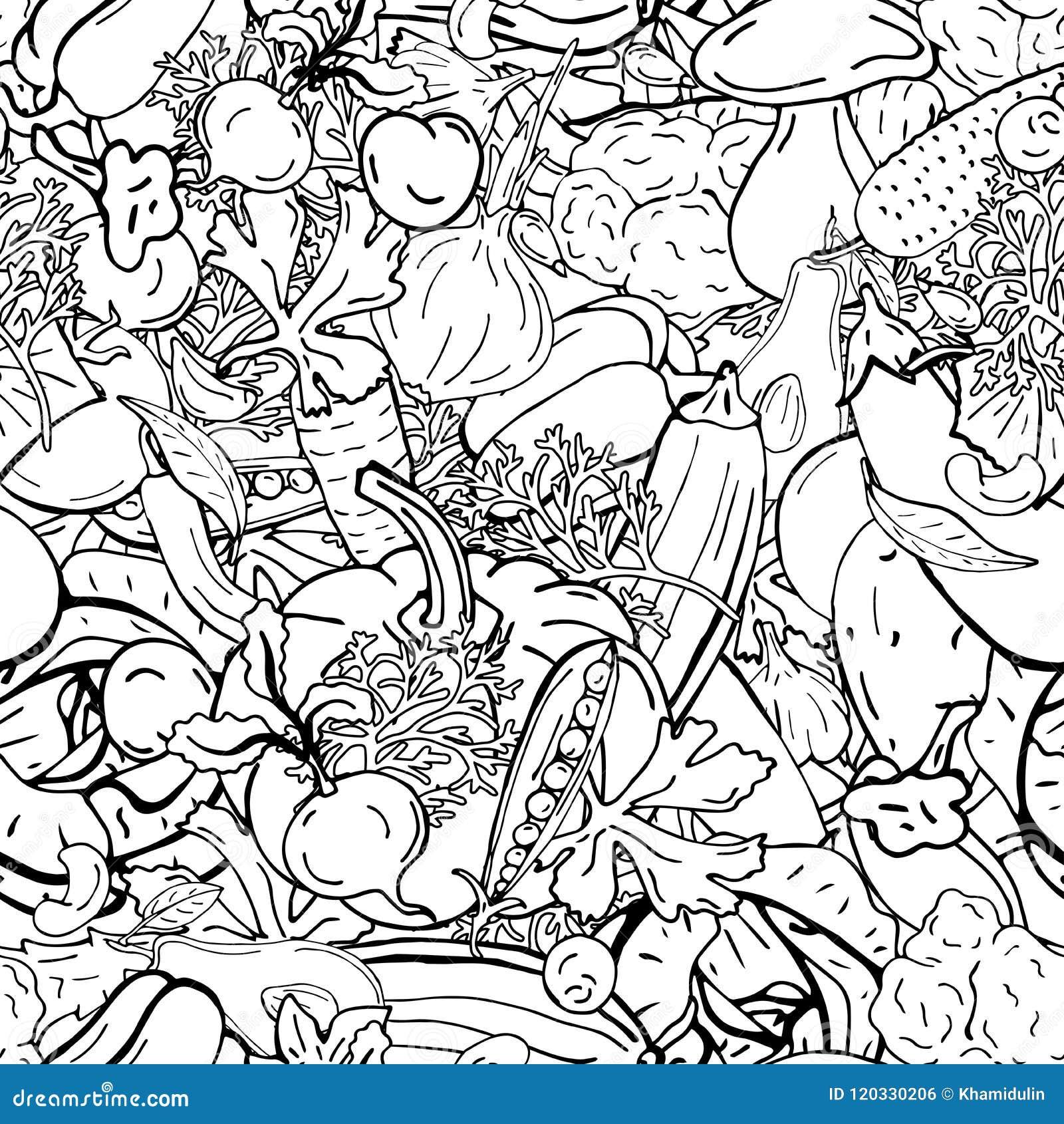 菜传染媒介无缝的样式减速火箭的图画  能为网页背景使用,填装图画,墙纸