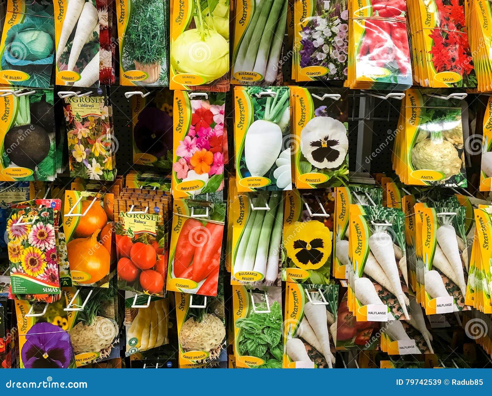 菜植物的农业种子在超级市场立场的销售中