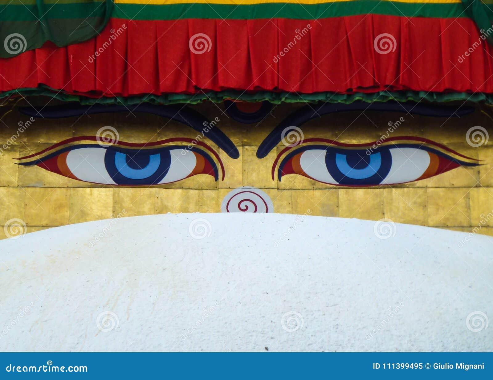 菩萨的眼睛绘了在Boudhanath Stupa,加德满都,尼泊尔的圆顶
