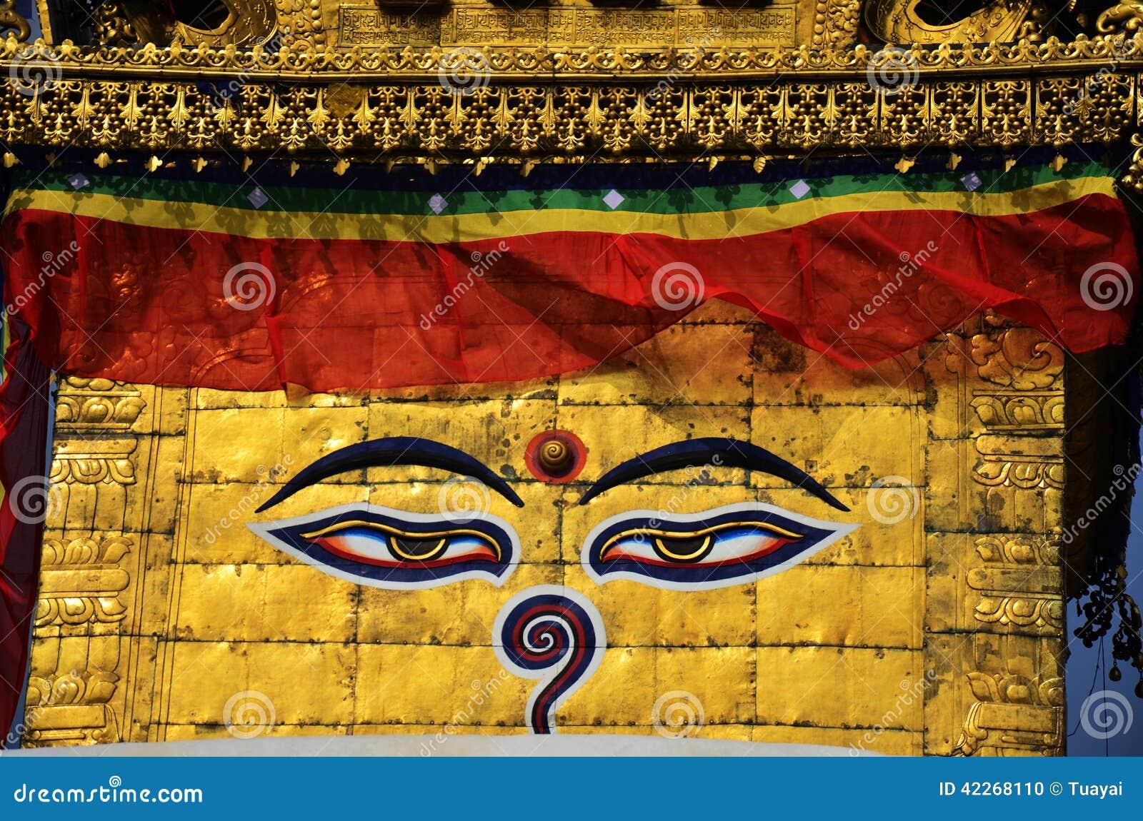 菩萨眼睛是很流行在他们成为了尼泊尔的标志的国家中 在鼻子的菩萨的