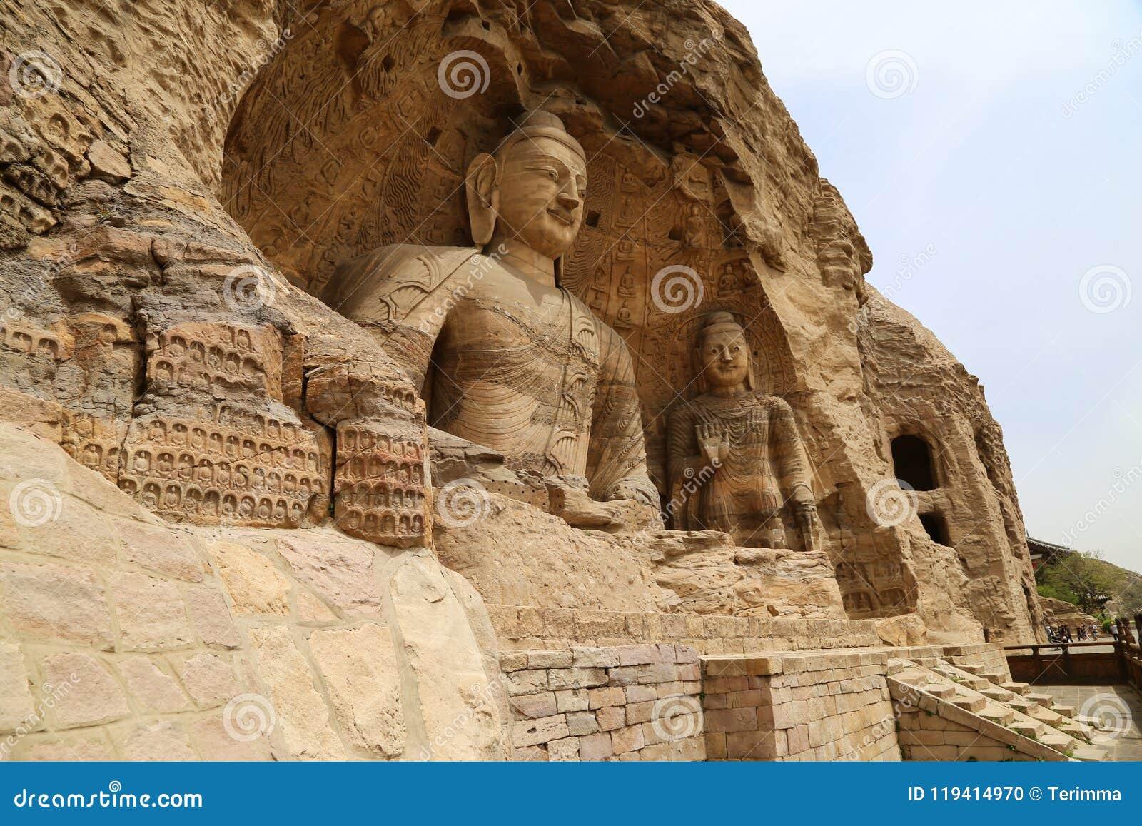 菩萨雕象,云冈洞洞穴,大同,中国