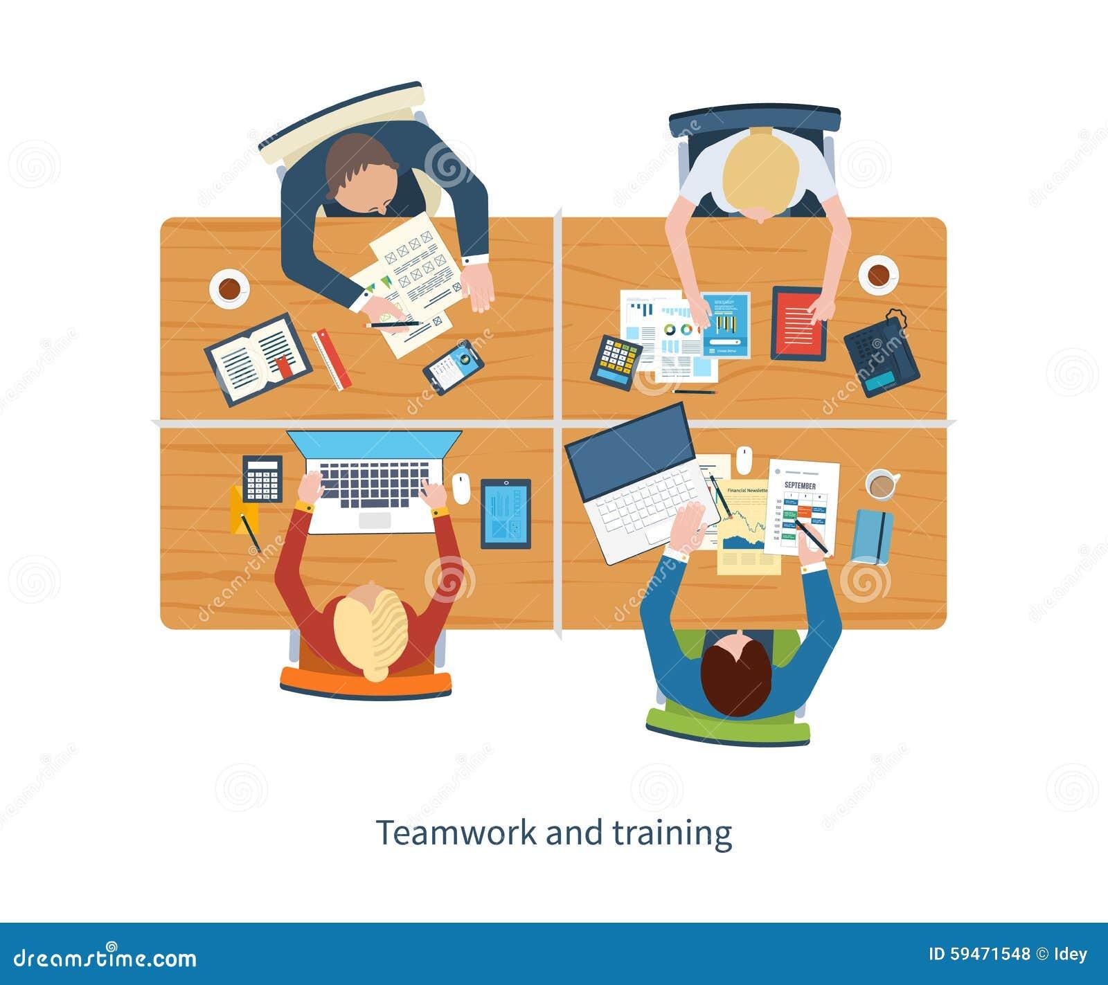 经营分析的平的设计例证概念在会议、队工作、财政报告、项目管理和developmen