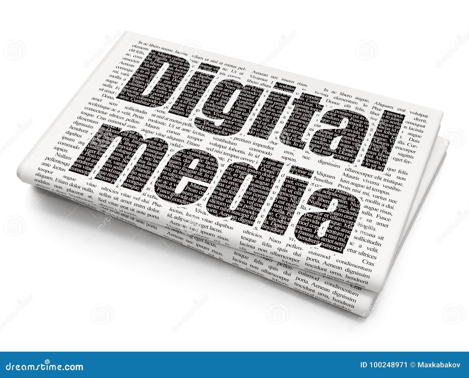 营销概念:在报纸背景的数字式媒介