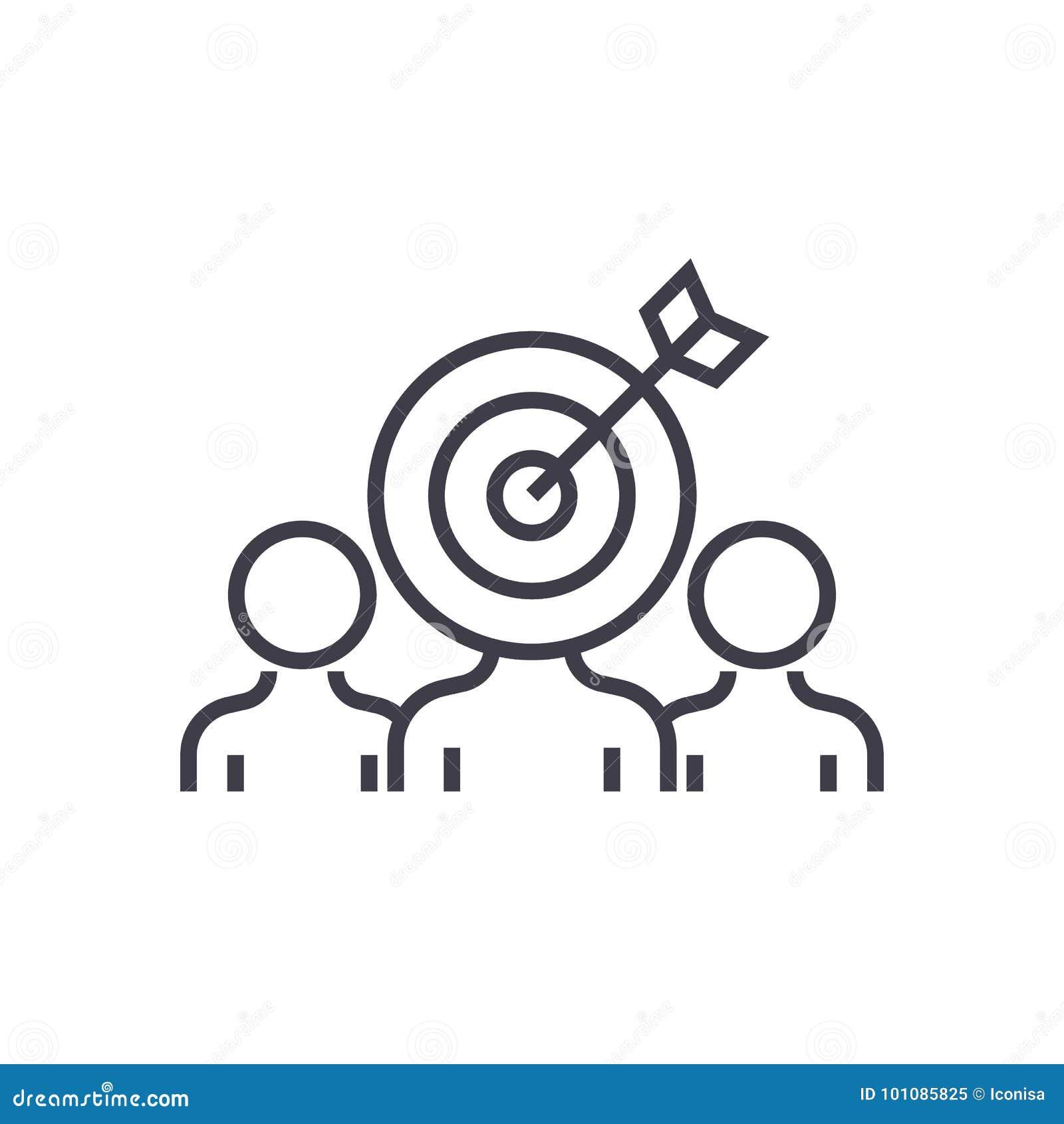 营销观众订婚传染媒介线象,标志,在背景,编辑可能的冲程的例证