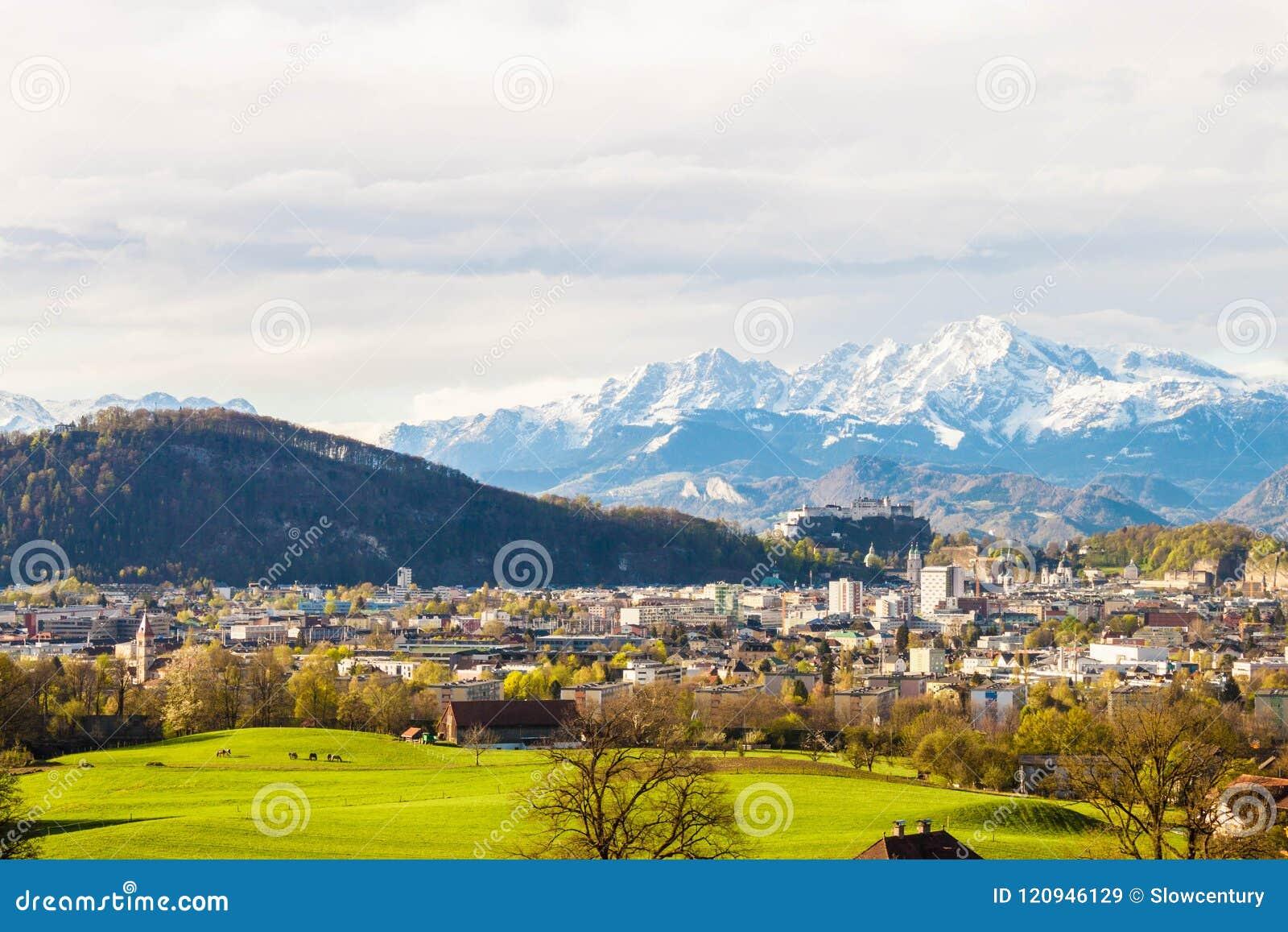 萨尔茨堡和阿尔卑斯美丽的景色从玛丽亚平原在Berghein