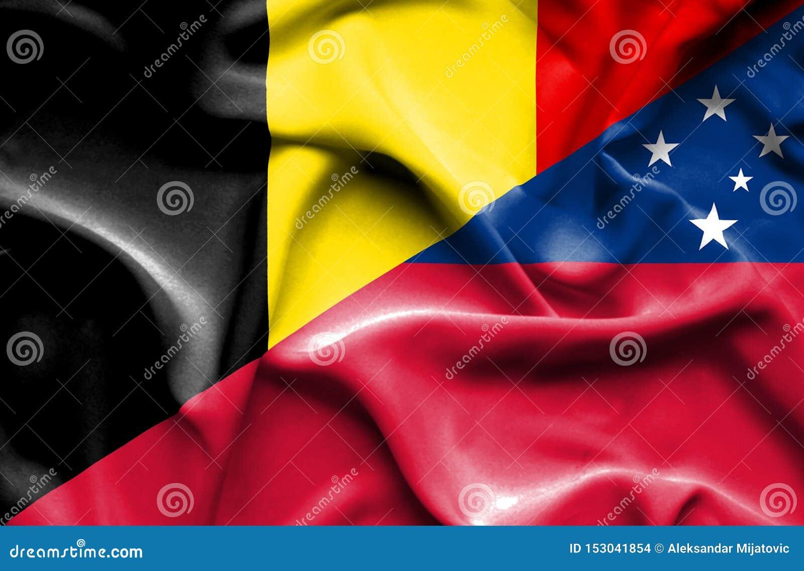 萨摩亚和比利时的挥动的旗子