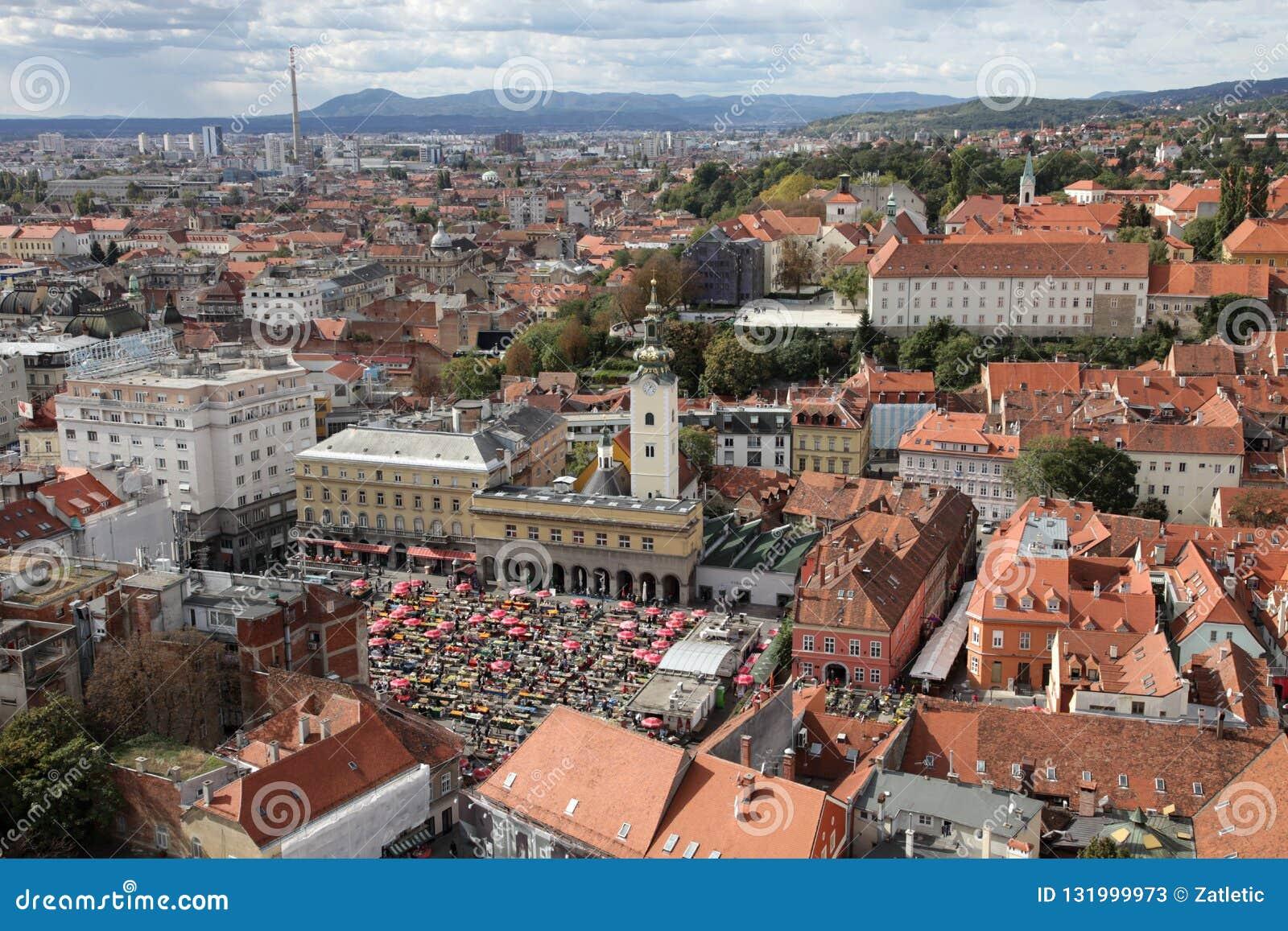 萨格勒布鸟瞰图,克罗地亚的首都