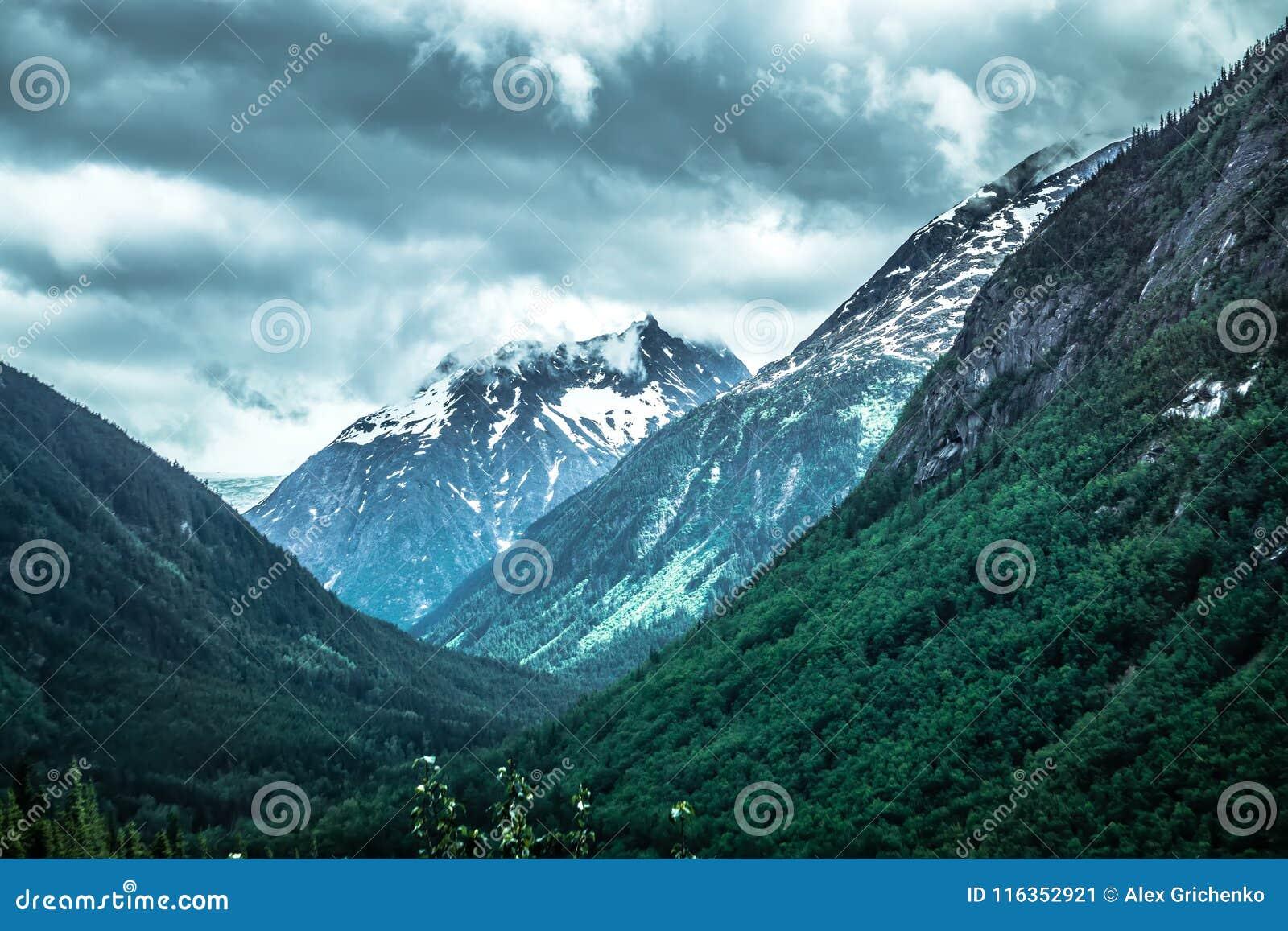 落矶山脉在阿拉斯加不列颠哥伦比亚省边界的自然场面