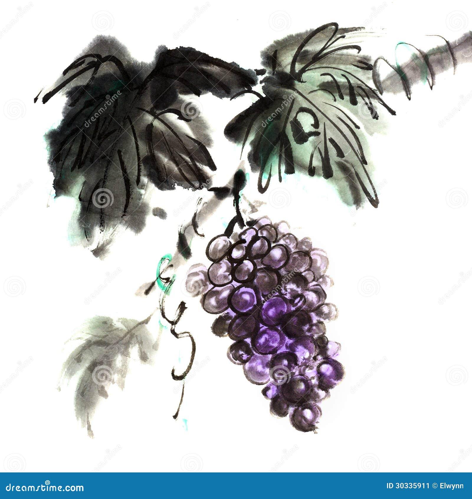 葡萄中国传统墨水绘画