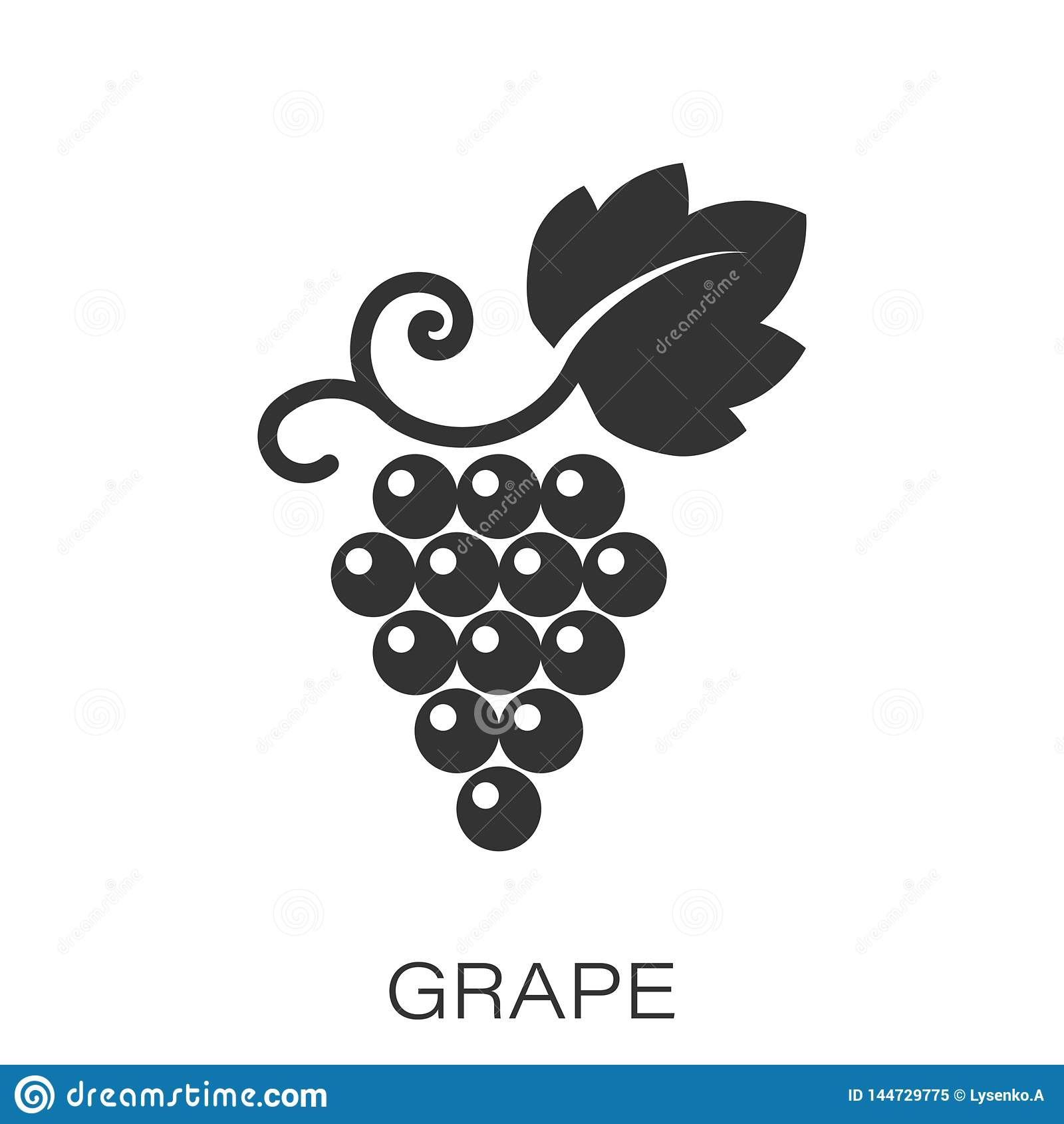 葡萄果子签署在平的样式的象 葡萄树在白色被隔绝的背景的传染媒介例证 葡萄酒企业概念