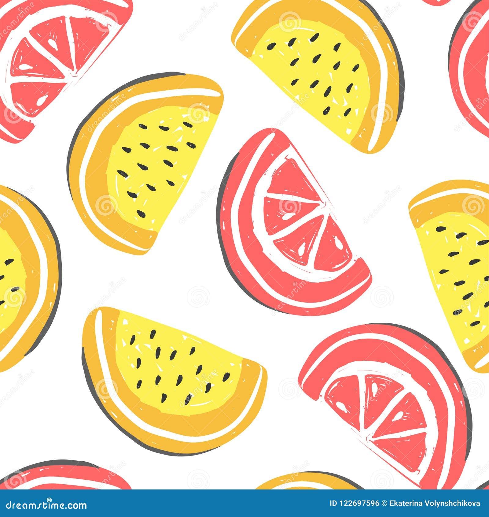 葡萄柚和西瓜异乎寻常的果子无缝的样式 新鲜的瓜和葡萄柚,热带水果夏天戒毒所