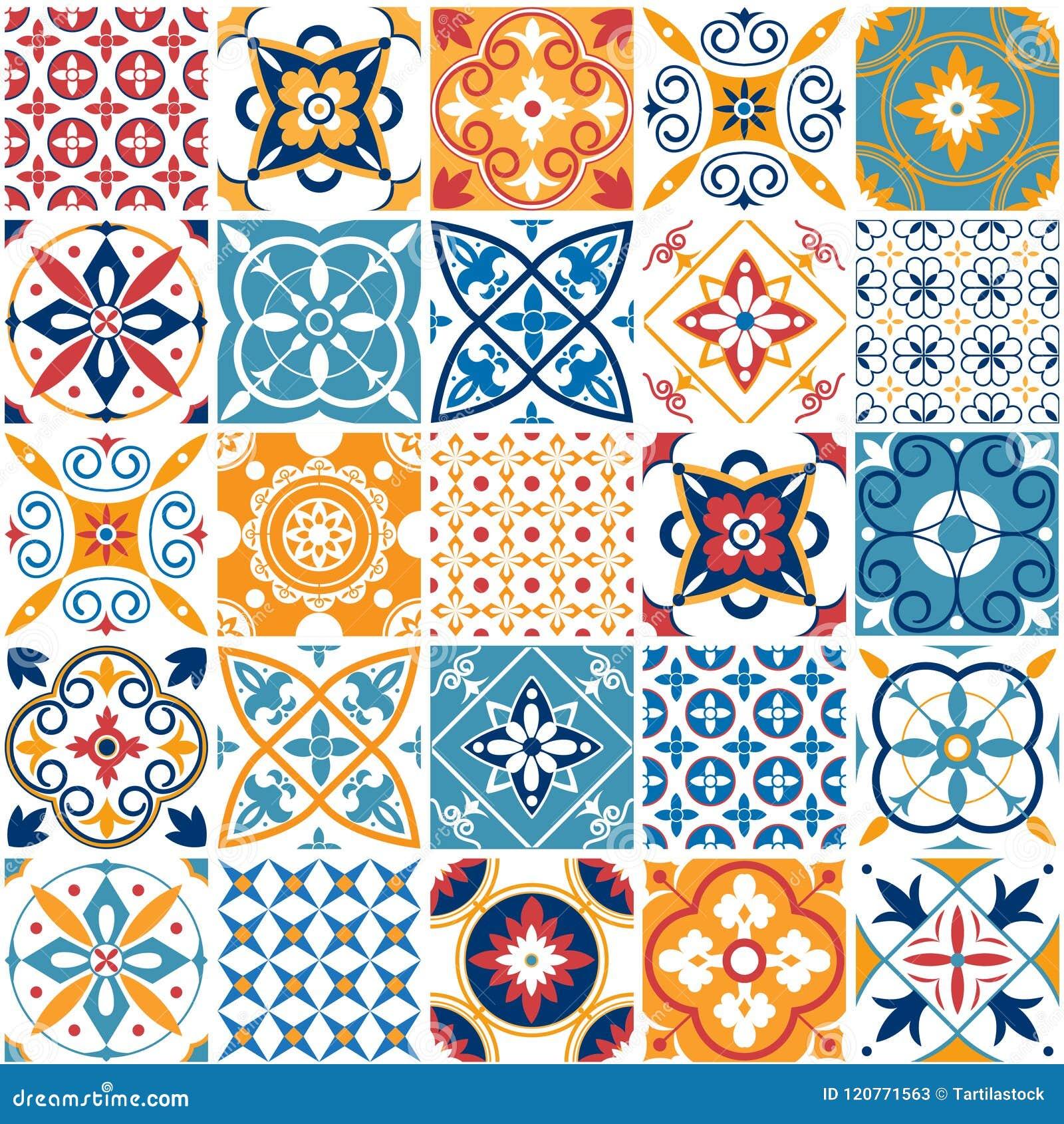 葡萄牙无缝的样式 葡萄酒地中海陶瓷砖纹理 几何瓦片样式和墙壁印刷品纹理