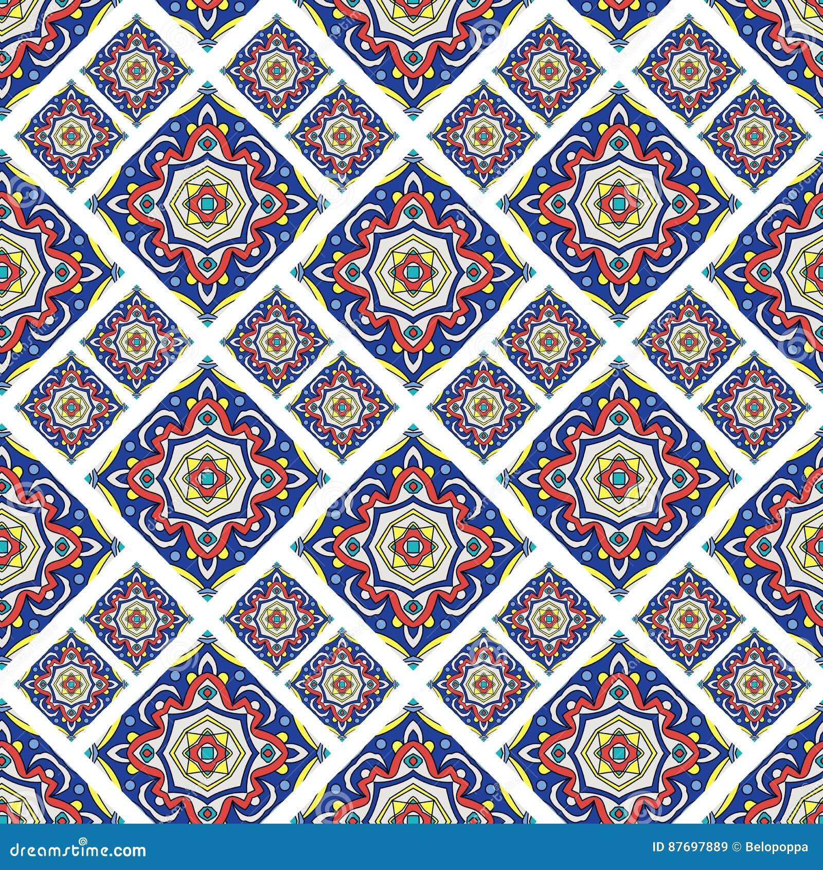 葡萄牙azulejo瓦片 蓝色和白色华美无缝