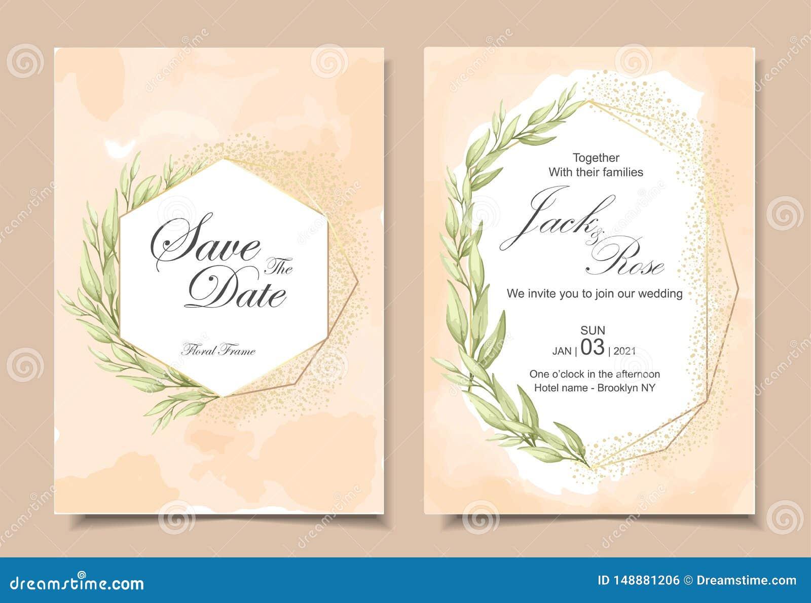 葡萄酒与水彩背景纹理、几何金黄框架和水彩手画的叶子的婚礼请帖
