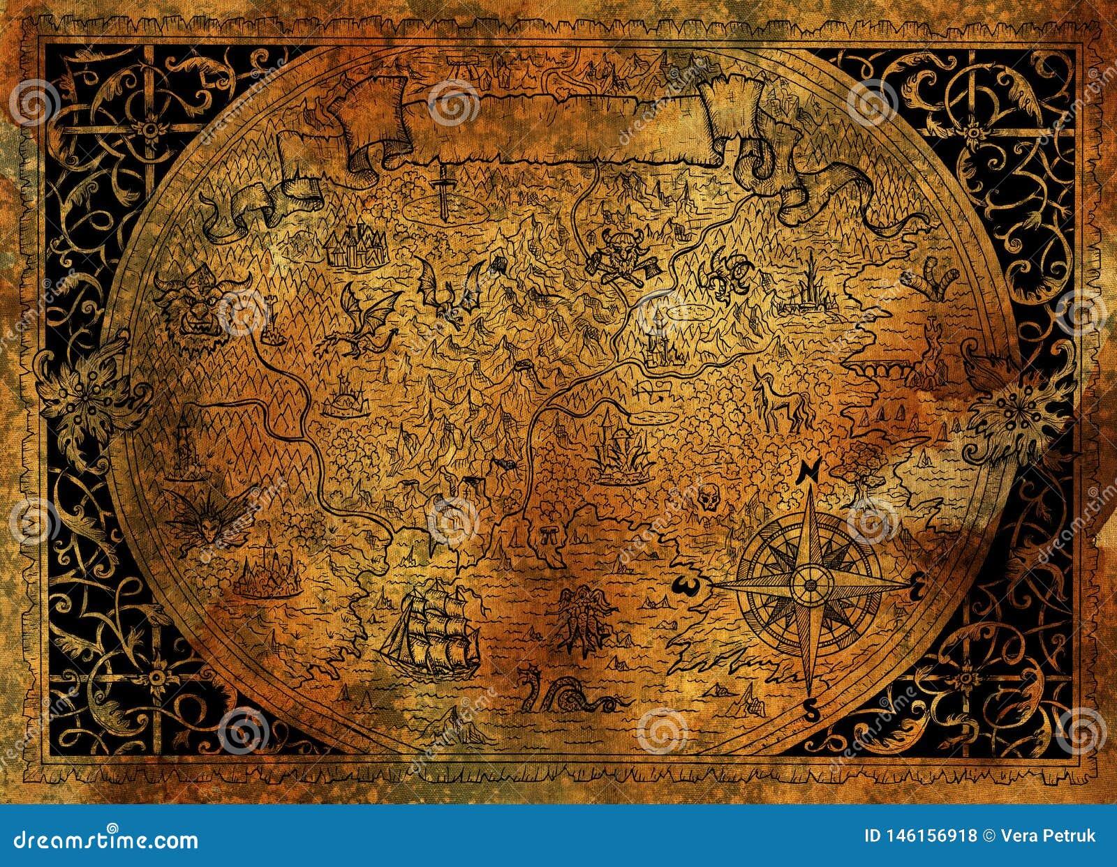 葡萄酒与海盗船,指南针,在老纸纹理的龙的幻想世界地图