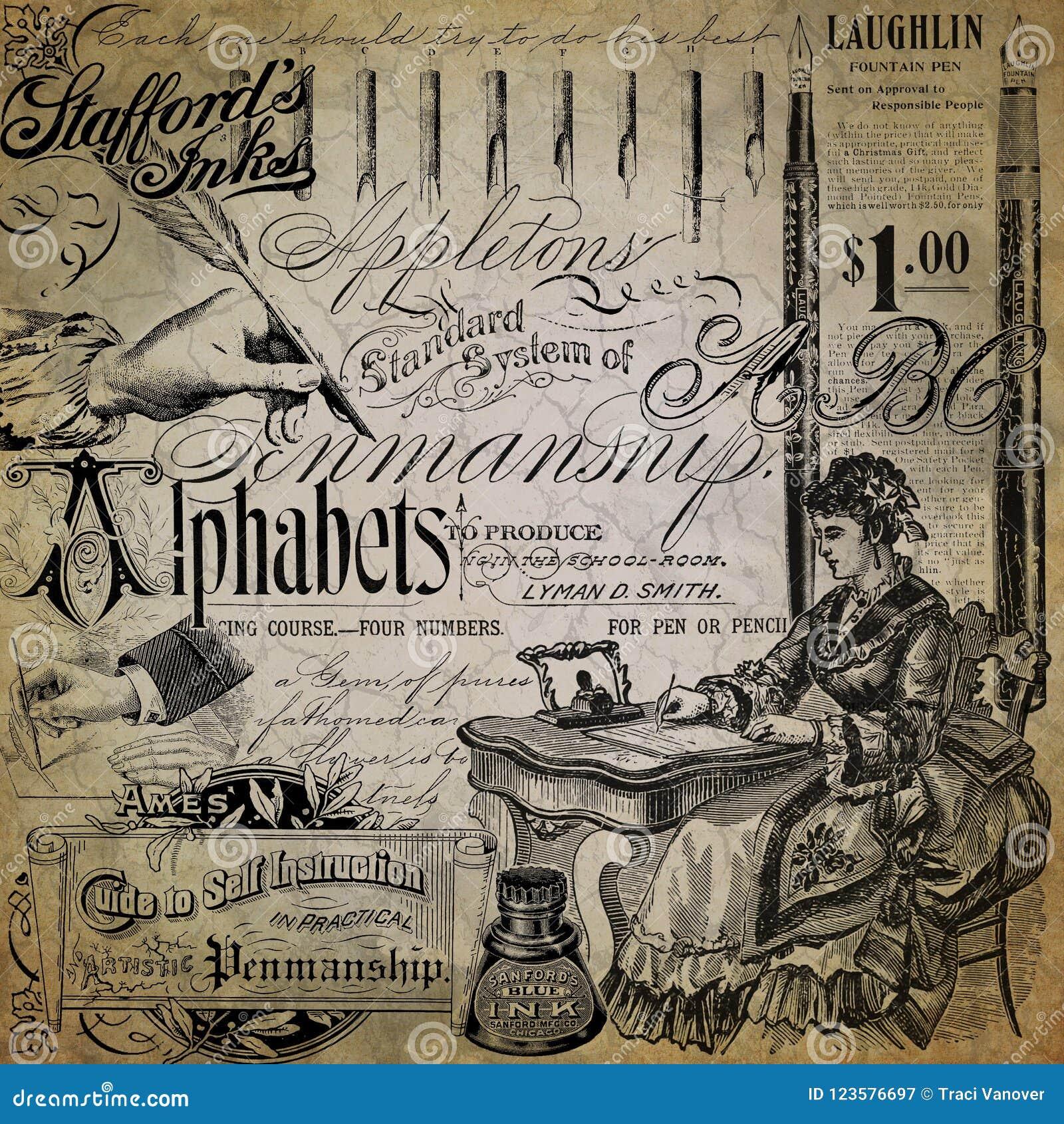 葡萄酒书法拼贴画背景资料设计-钢笔-墨水-字母表-文字底漆