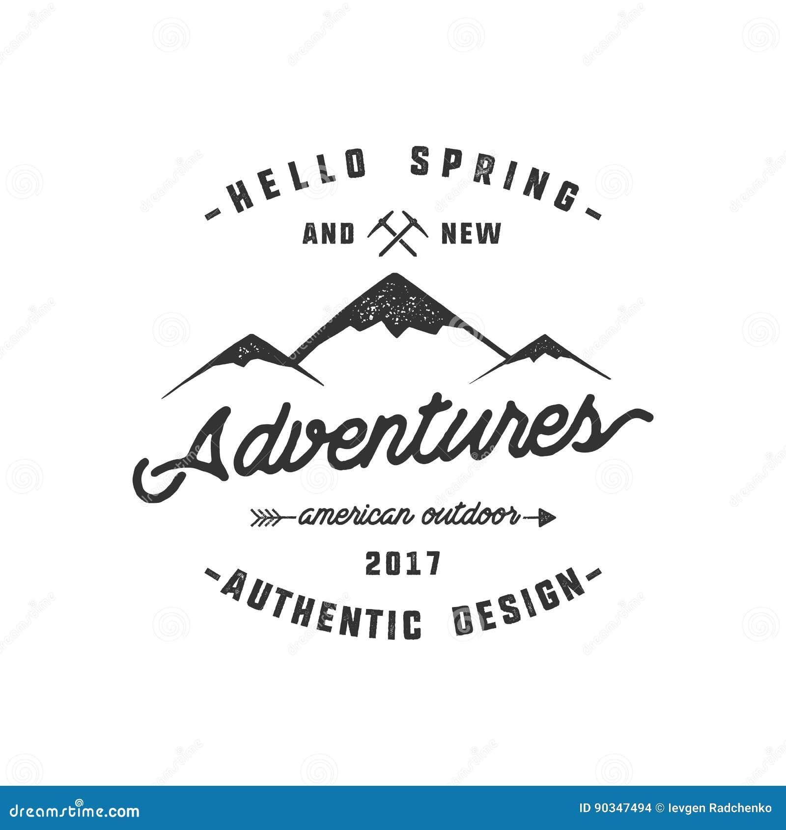葡萄酒冒险手拉的标签设计 你好春天和新的冒险签字和室外活动标志-山