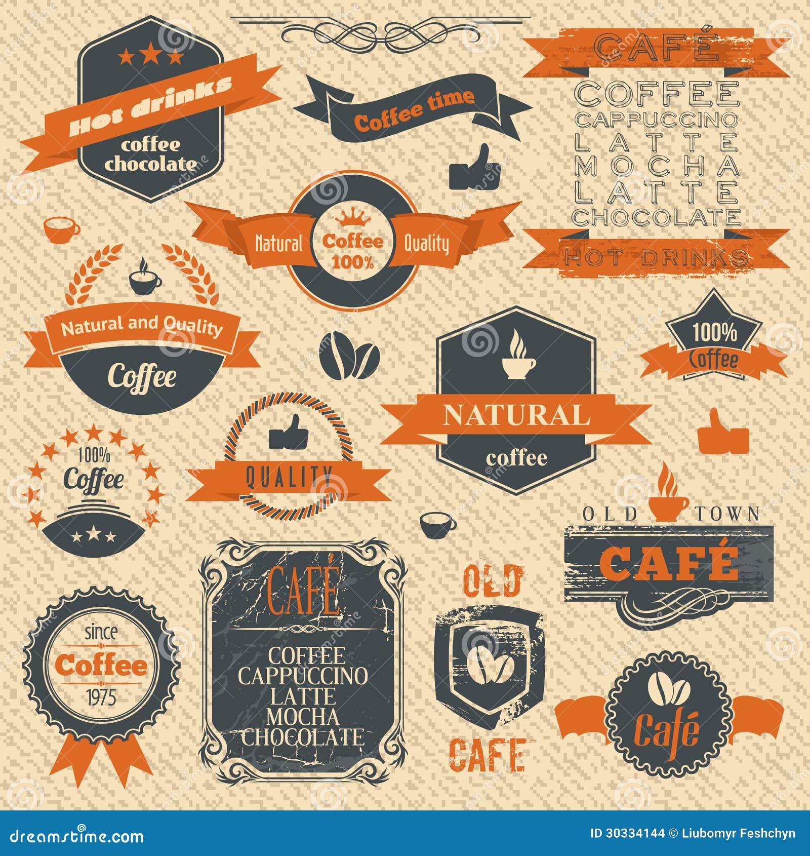 葡萄酒咖啡邮票和标签设计背景