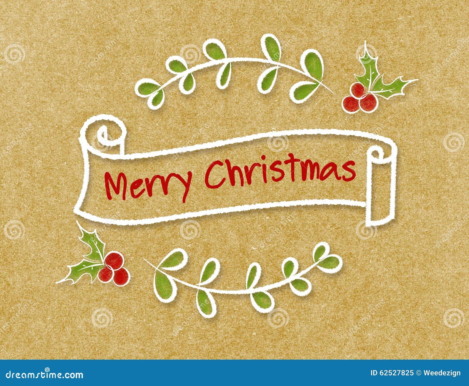 葡萄酒圣诞快乐在乱画样式的丝带横幅在工艺p
