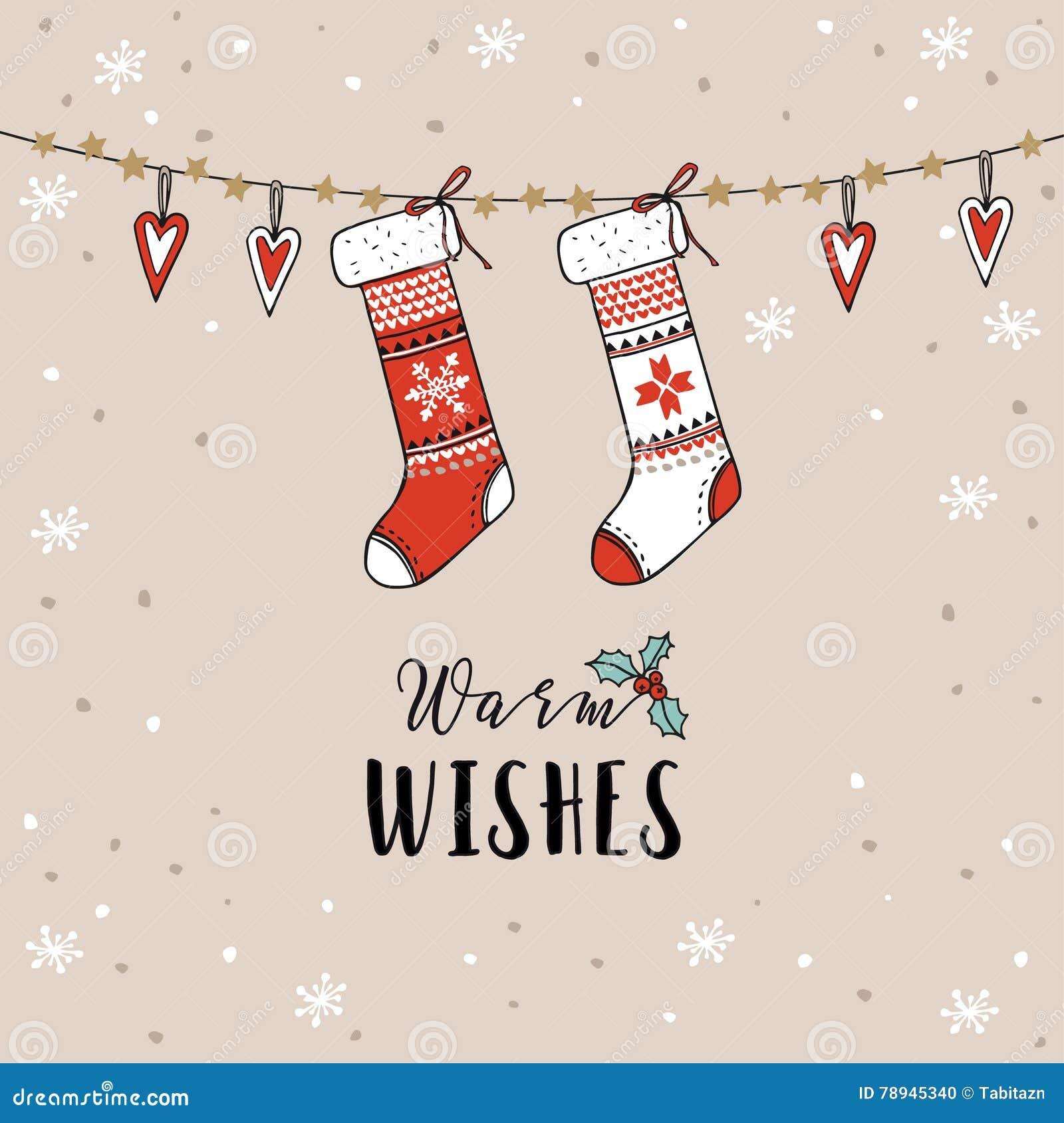 葡萄酒圣诞节,新年贺卡,邀请 传统装饰,垂悬的被编织的袜子,长袜,心脏,雪