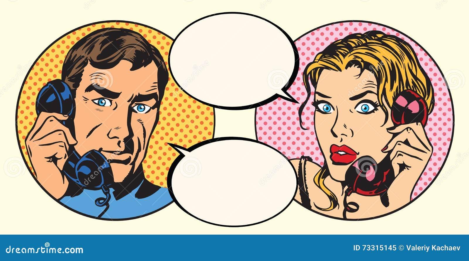 葡萄酒夫妇男人和妇女谈话在电话