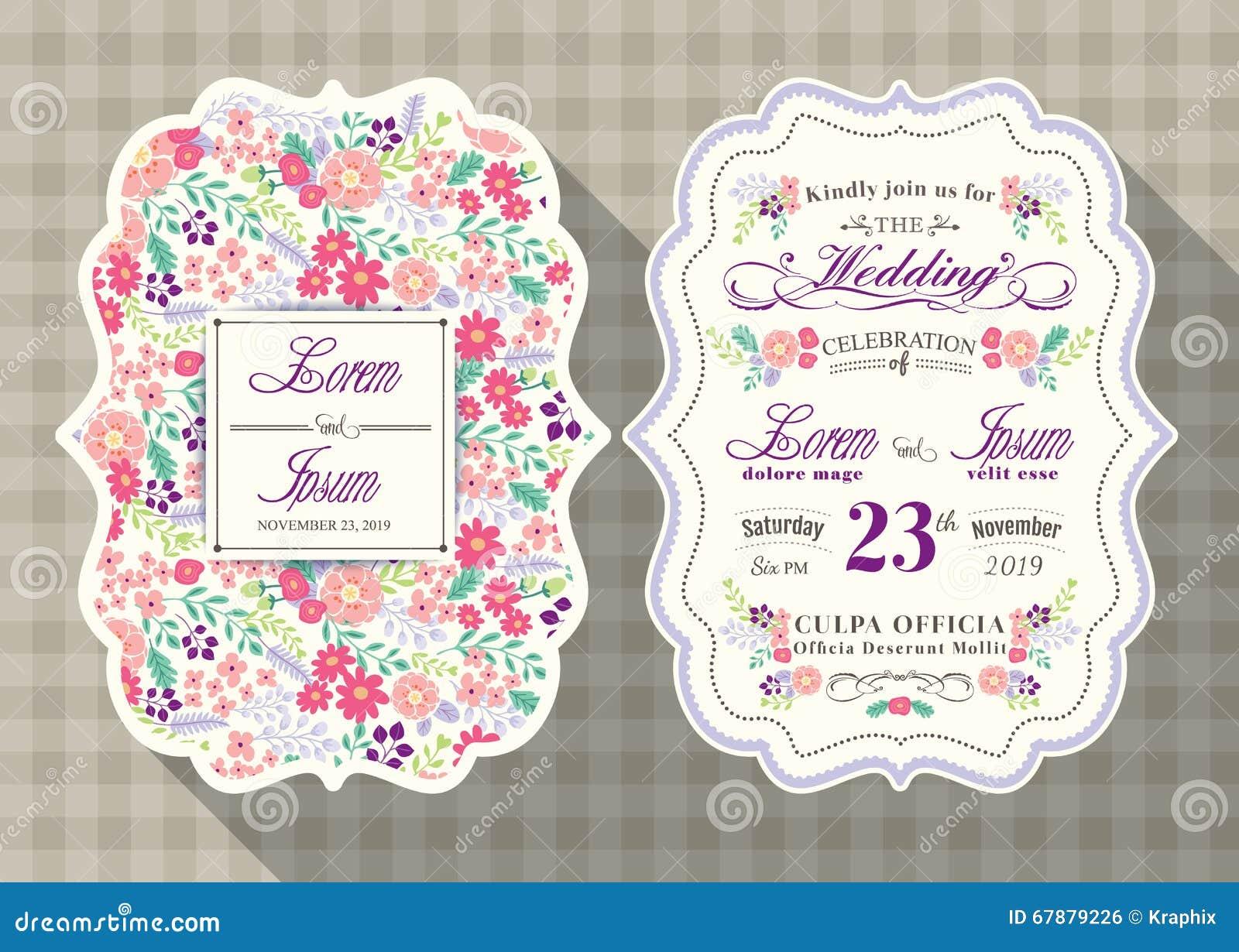 葡萄酒婚礼与花模板的邀请卡片