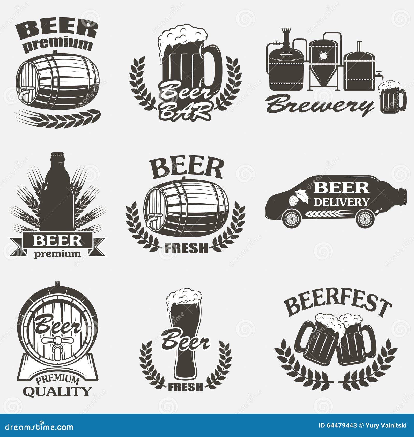 葡萄酒工艺啤酒啤酒厂象征,标签和设计元素.图片