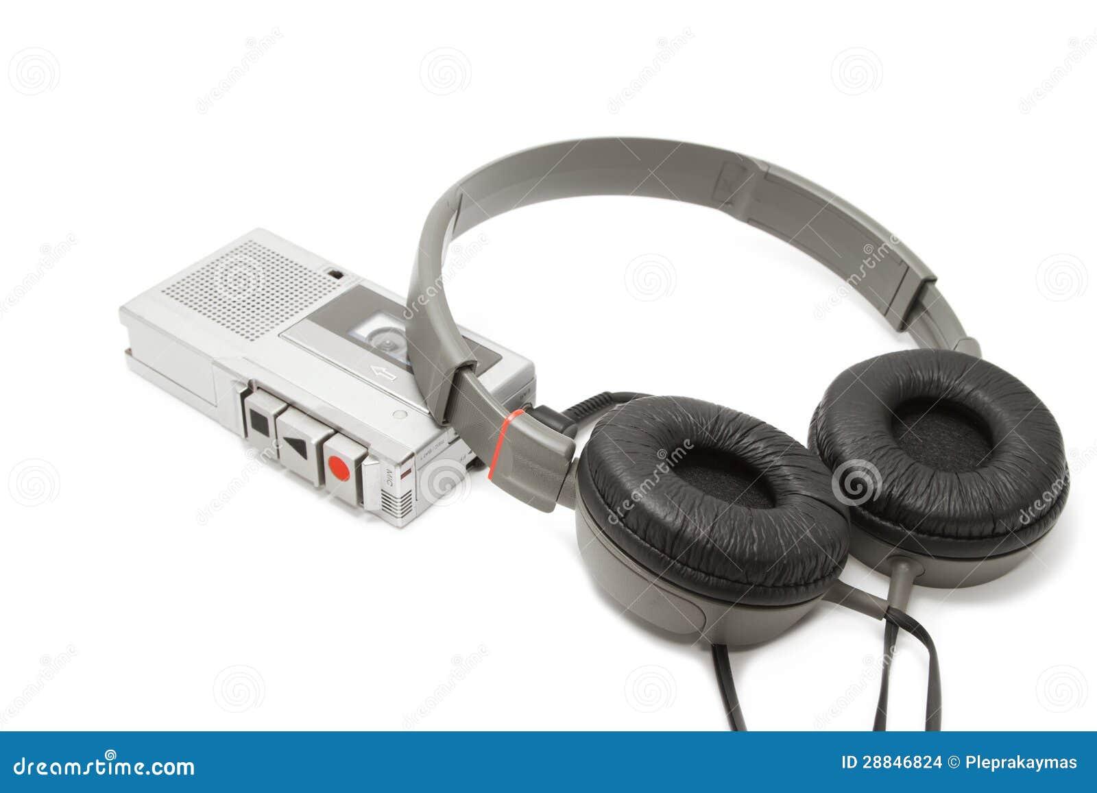 葡萄酒录声磁带记录员和耳机