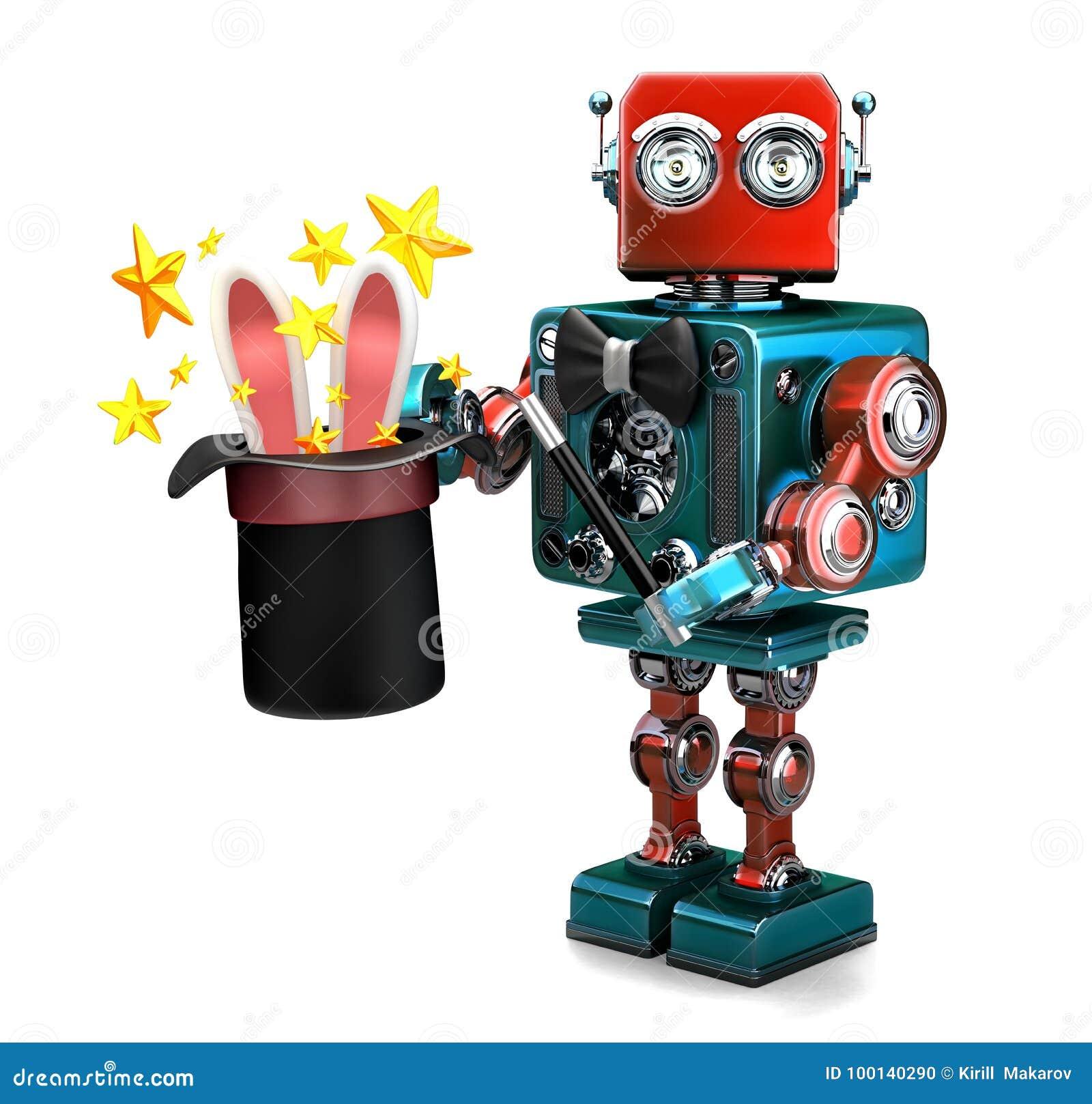 葡萄酒机器人与不可思议的帽子的陈列把戏 3d例证 查出 包含裁减路线