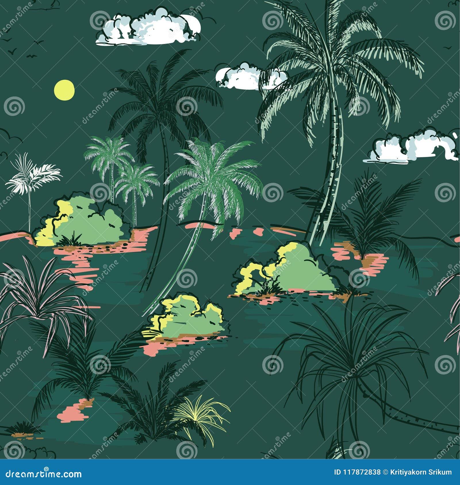 葡萄酒海岛和棕榈树递图画在seamle的剪影线