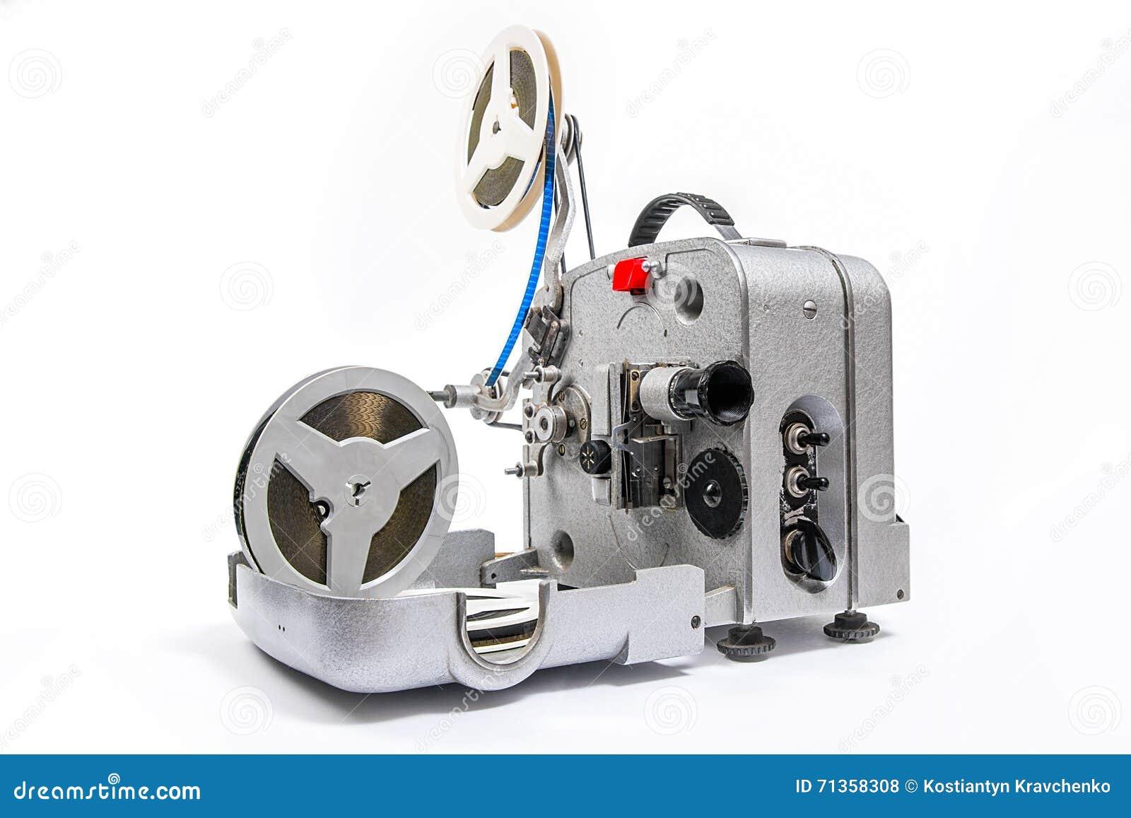 葡萄酒电影胶卷放映机和卷轴电影图片