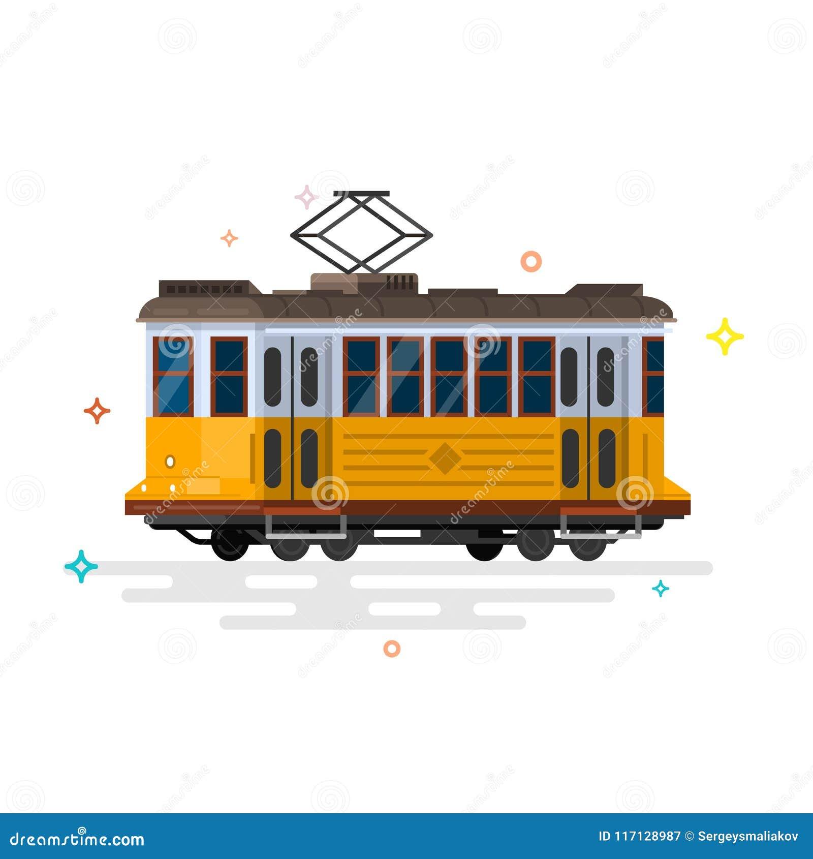 葡萄酒电车 减速火箭的电车 详细的电车 侧视图电车