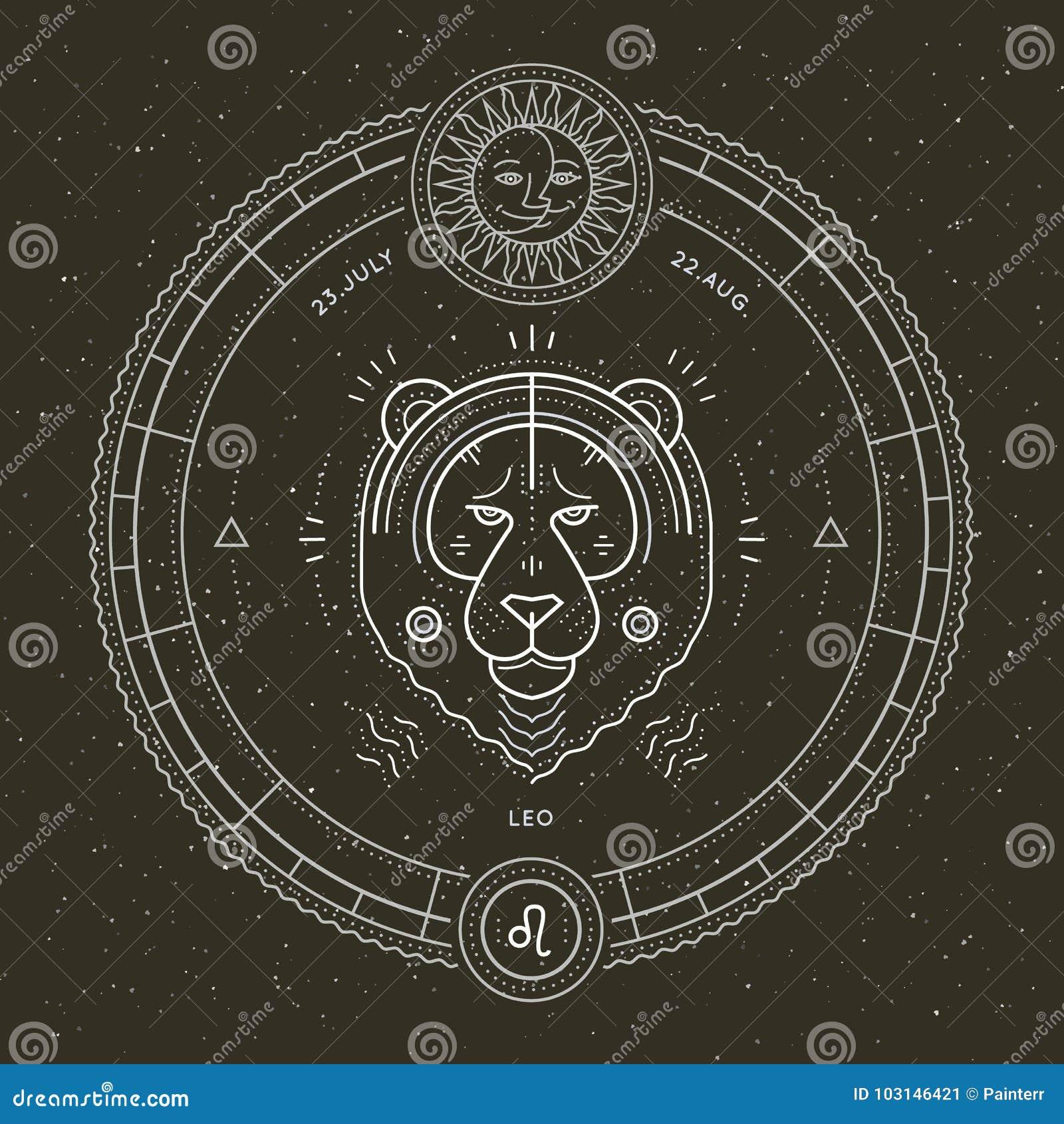 葡萄酒稀薄的线利奥黄道带标志标签 减速火箭的传染媒介占星术标志,神秘主义者,神圣的几何元素,象征,商标