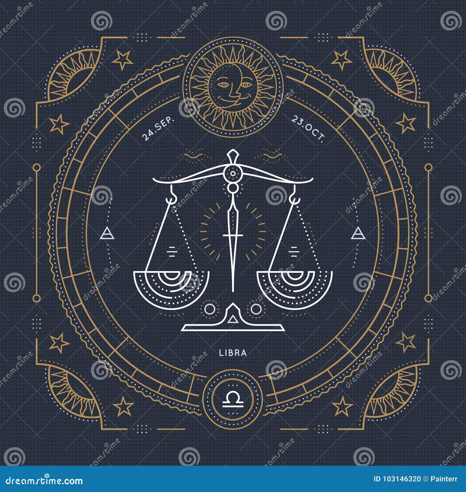 葡萄酒稀薄的线天秤座黄道带标志标签 减速火箭的传染媒介占星术标志,神秘主义者,神圣的几何元素,象征