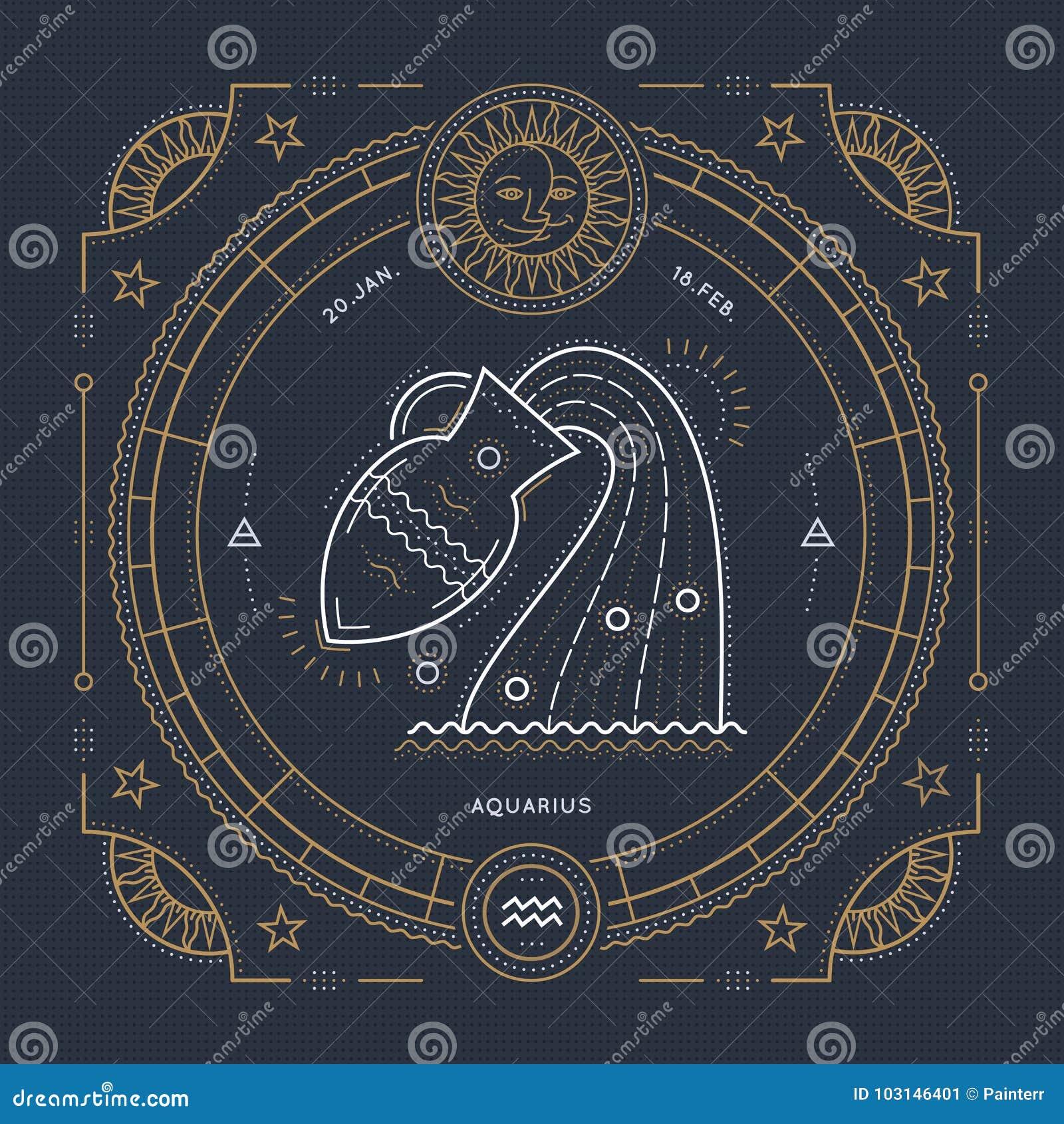 葡萄酒稀薄的线宝瓶星座黄道带标志标签 减速火箭的传染媒介占星术标志,神秘主义者,神圣的几何元素,象征