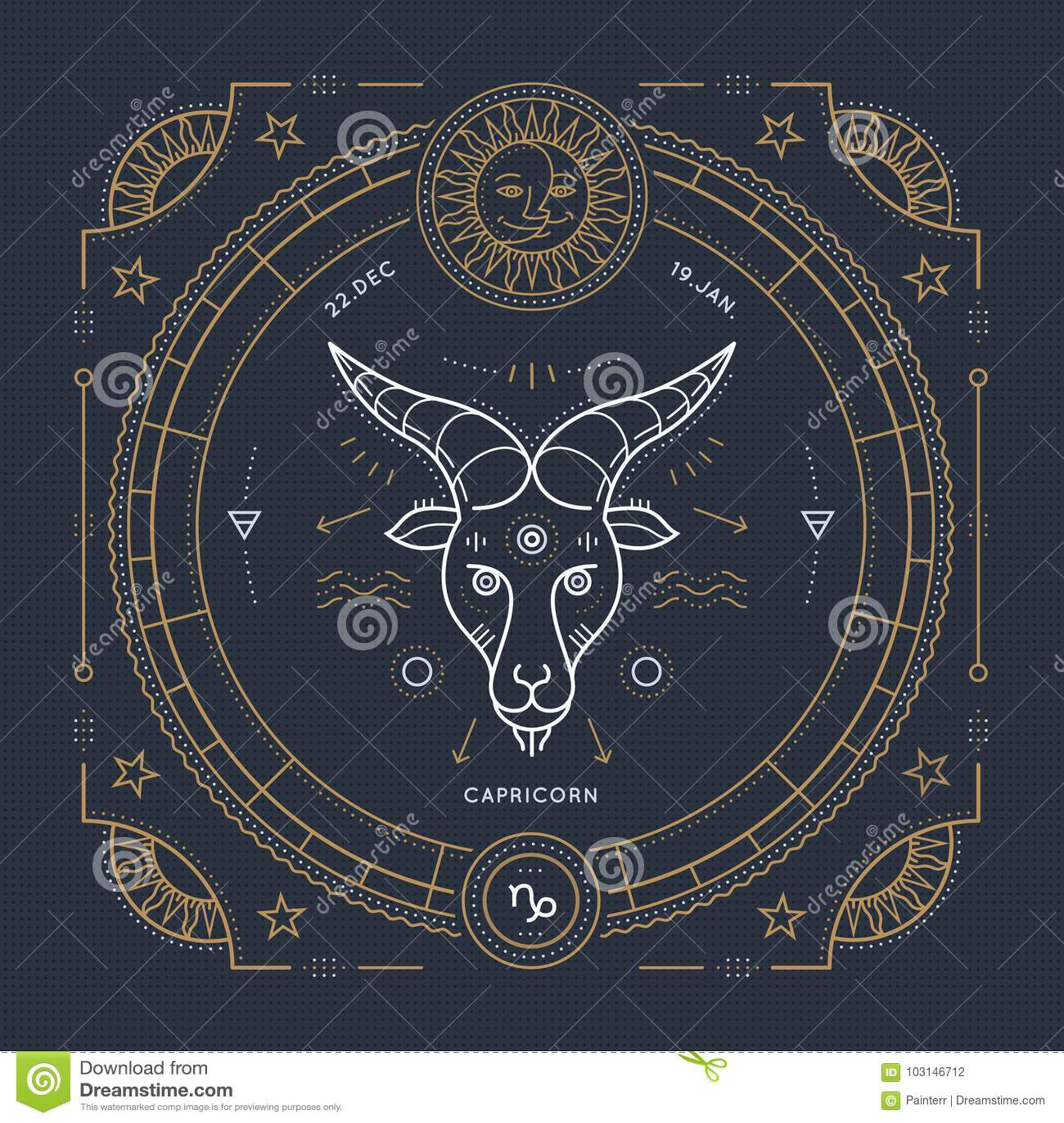 葡萄酒稀薄的线山羊座黄道带标志标签 减速火箭的传染媒介占星术标志,神秘主义者,神圣的几何元素,象征
