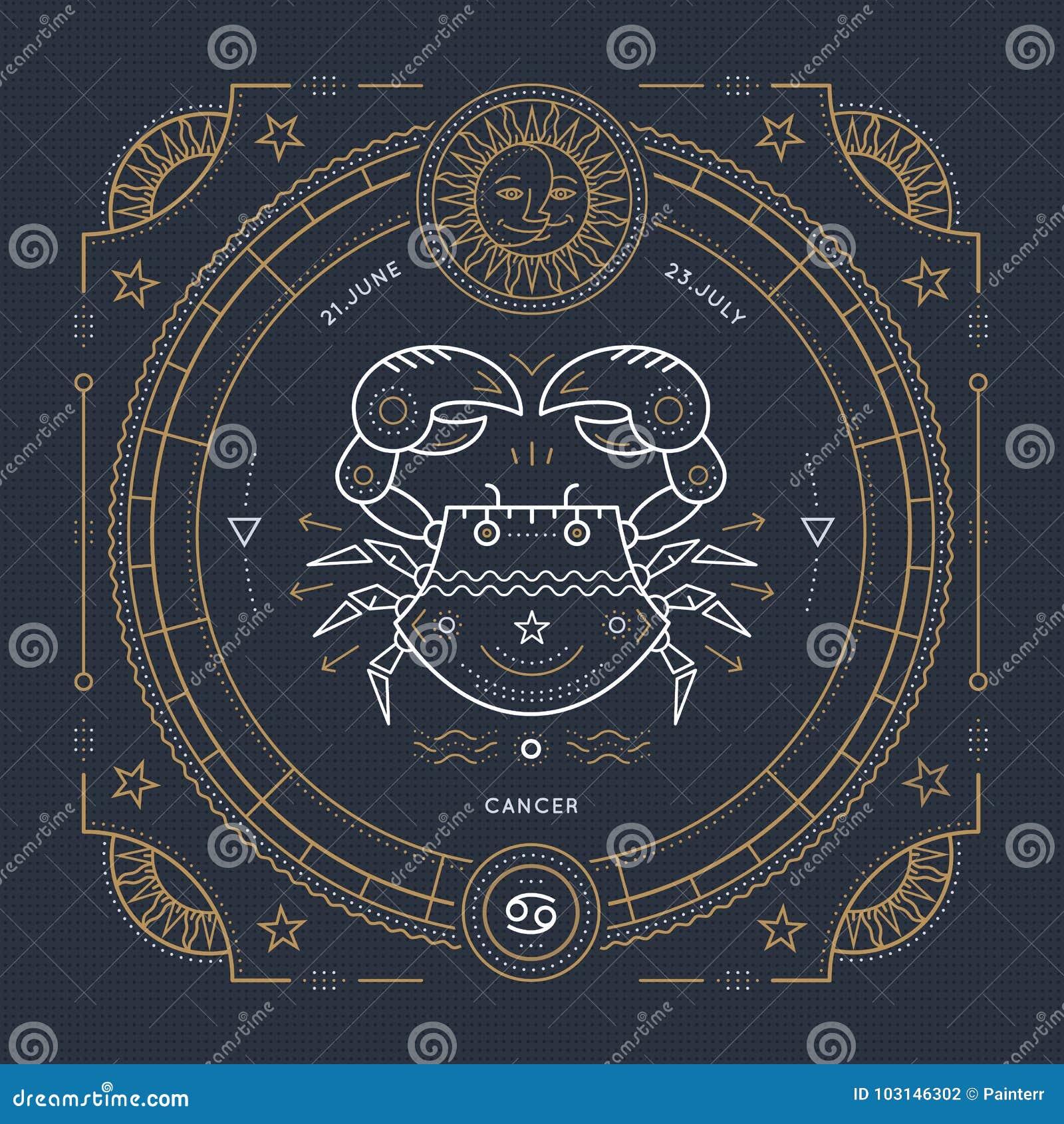 葡萄酒稀薄的线巨蟹星座黄道带标志标签 减速火箭的传染媒介占星术标志,神秘主义者,神圣的几何元素,象征