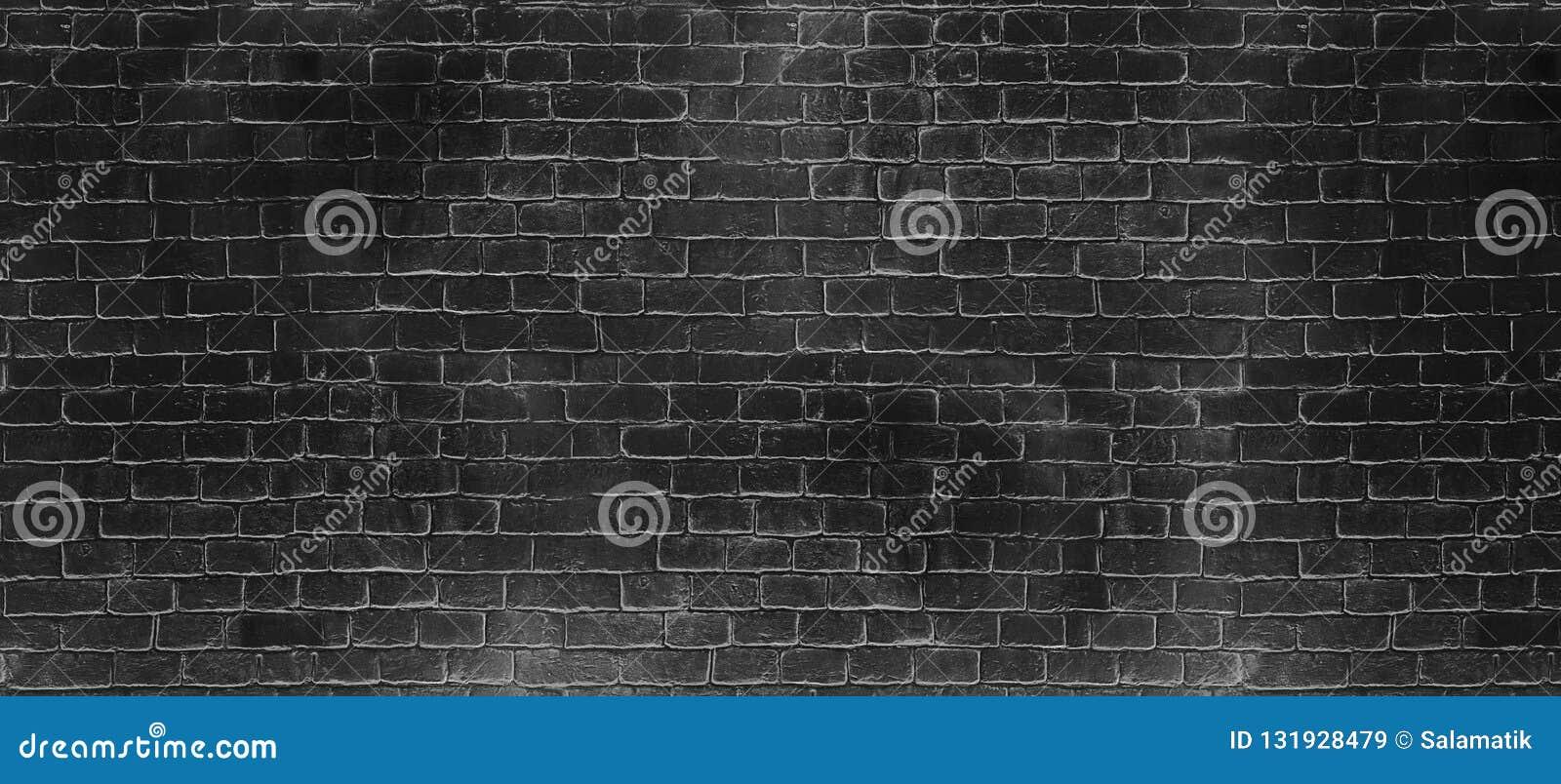 葡萄酒老深黑色洗涤砖墙纹理 您的文本或图象的全景背景